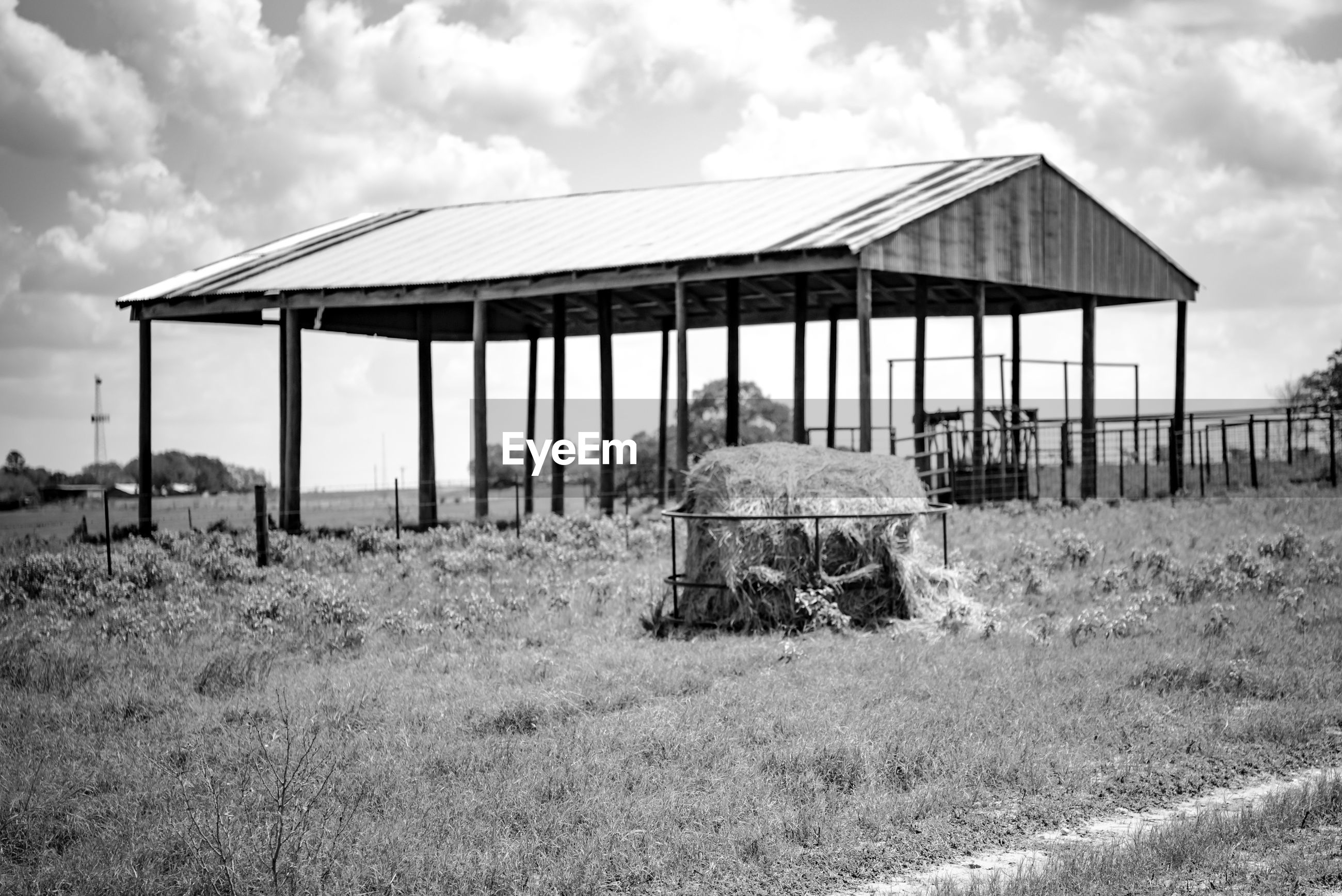 VIEW OF BARN ON FIELD AGAINST SKY