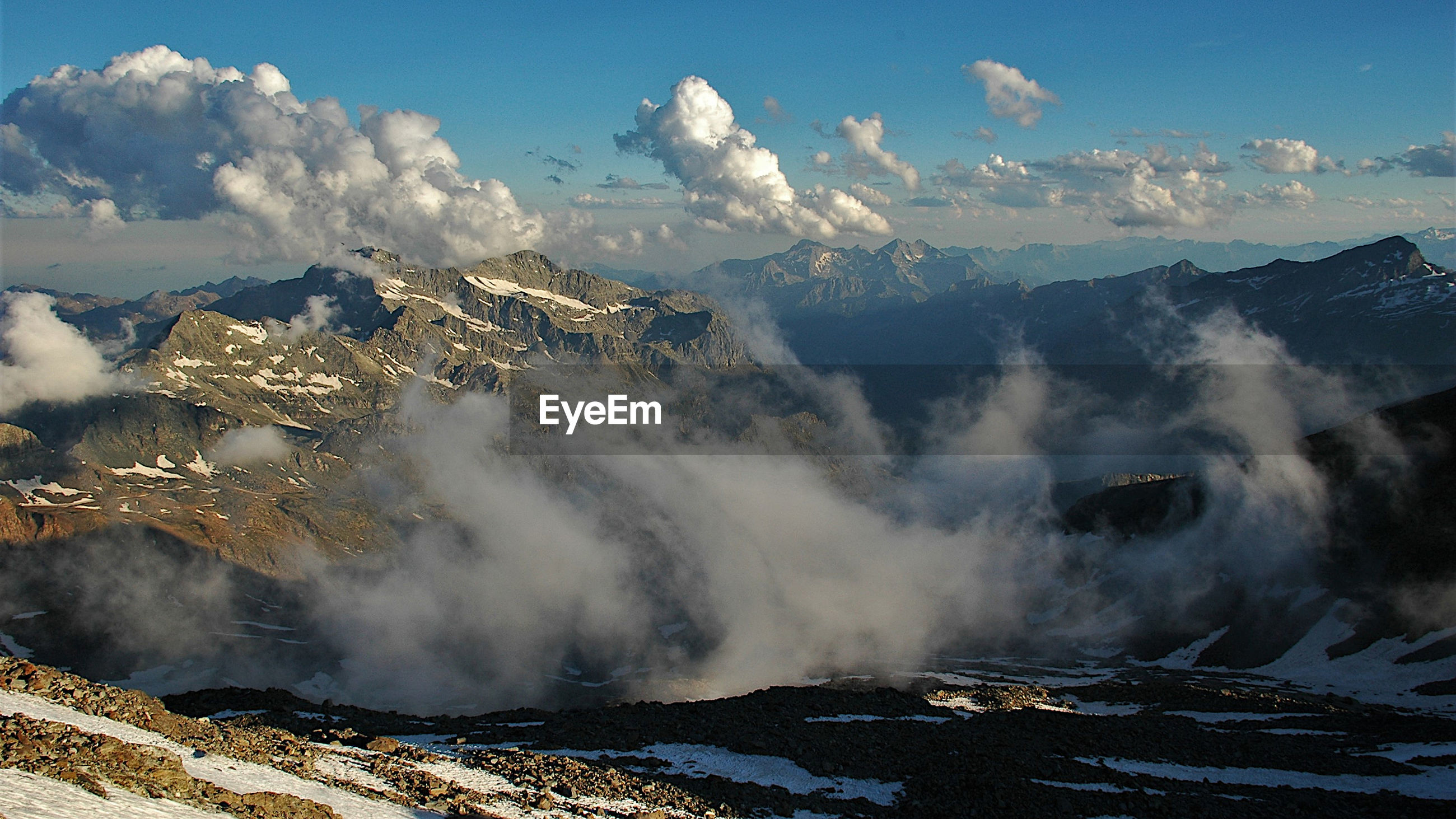 Panoramic view of snowcapped mountains against sky, view from refuge città di mantova.