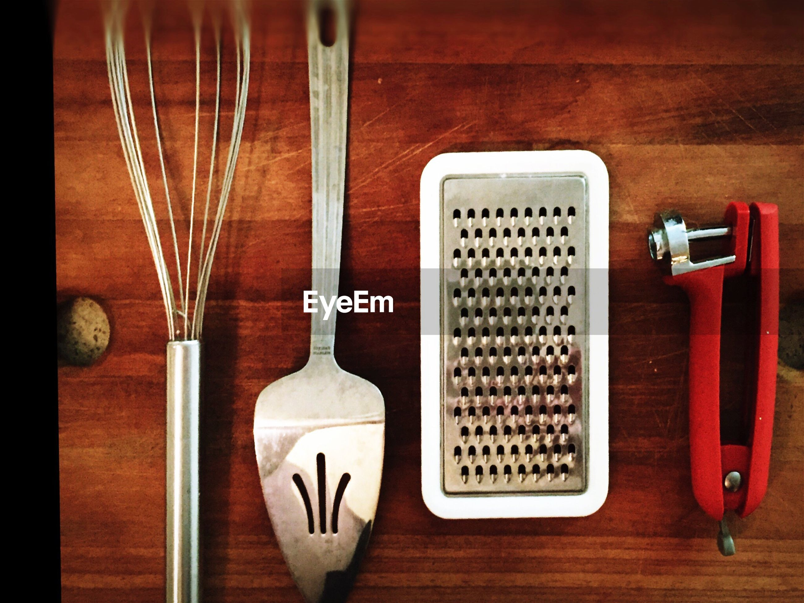 Directly above view of kitchen utensils on table