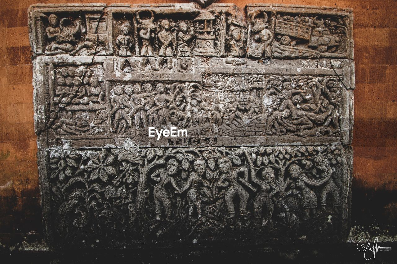 craft, art and craft, carving - craft product, architecture, history, the past, creativity, built structure, representation, no people, day, building, human representation, religion, close-up, ancient, wall - building feature, text, belief, building exterior, bas relief, carving, ornate, ancient civilization, place of worship