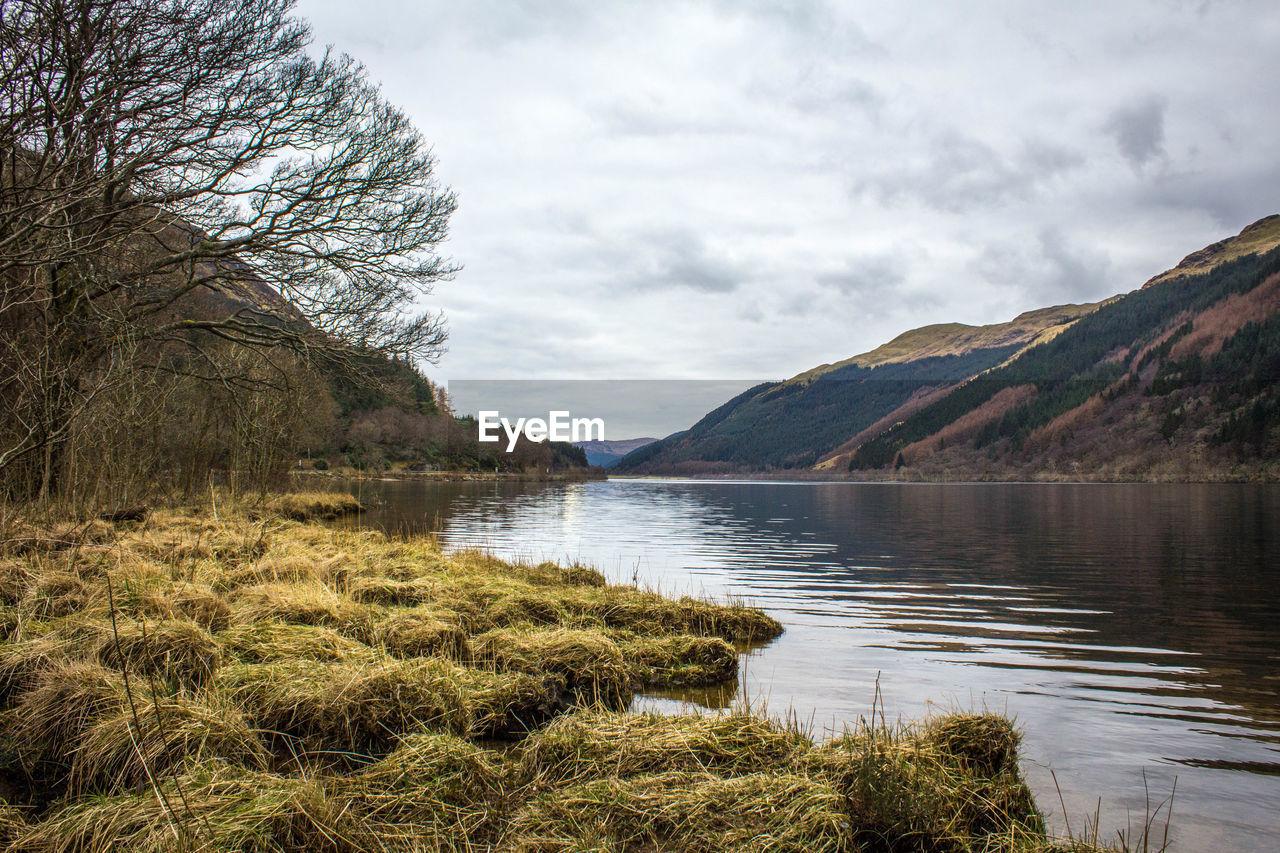 Reflection of rocky landscape in lake