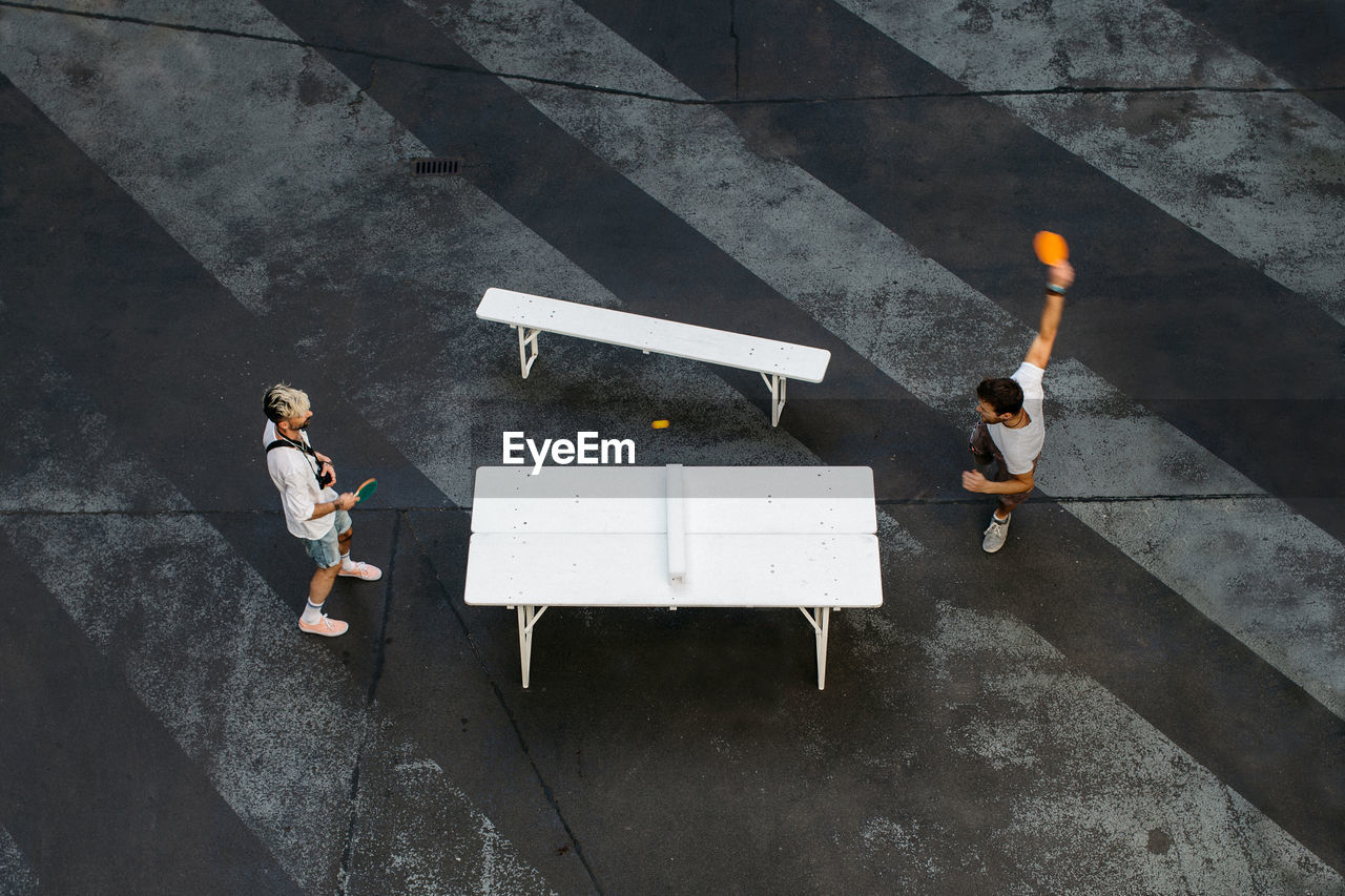 High Angle View Of People Working