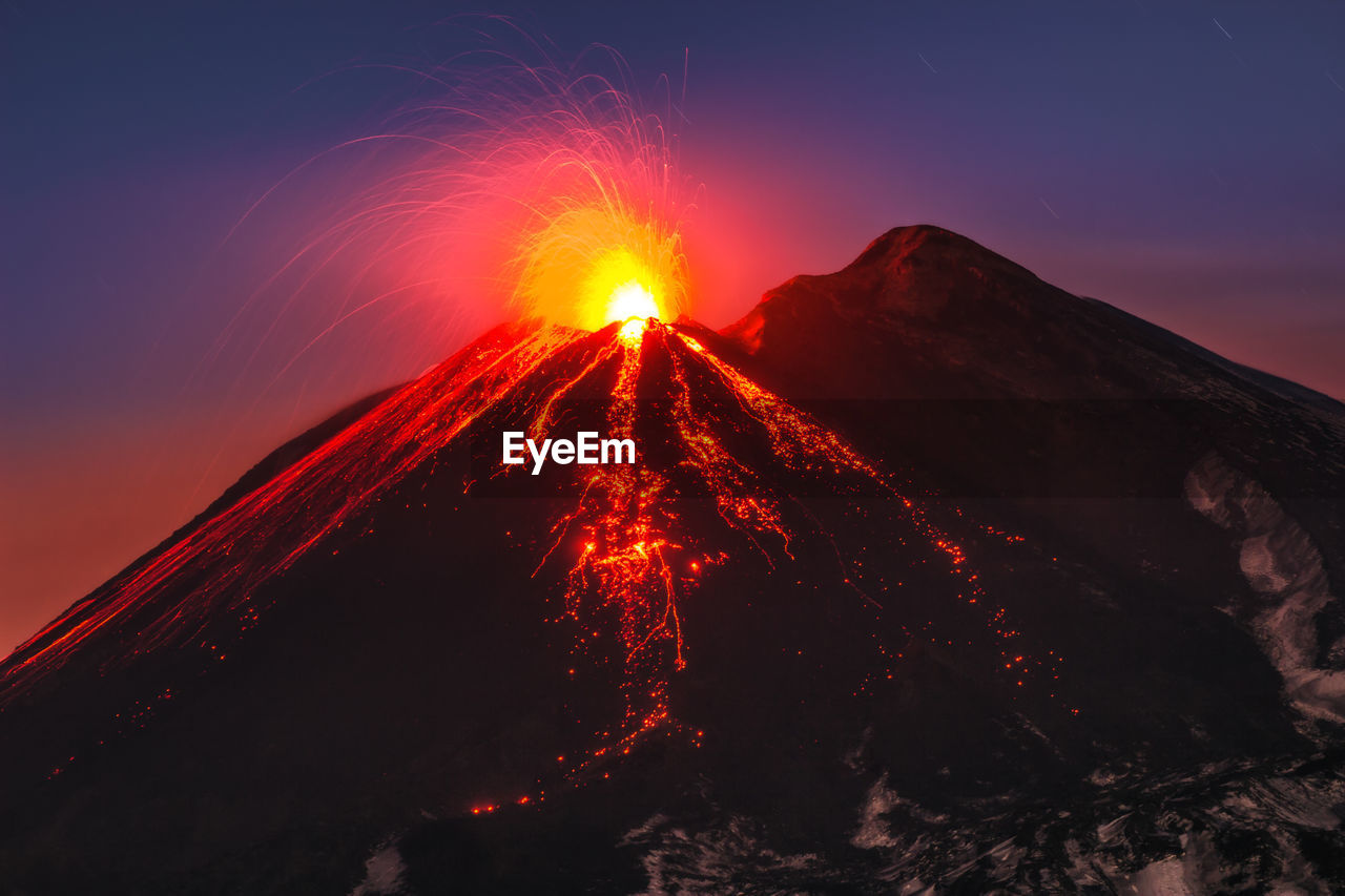 Lave Erupting From Volcano
