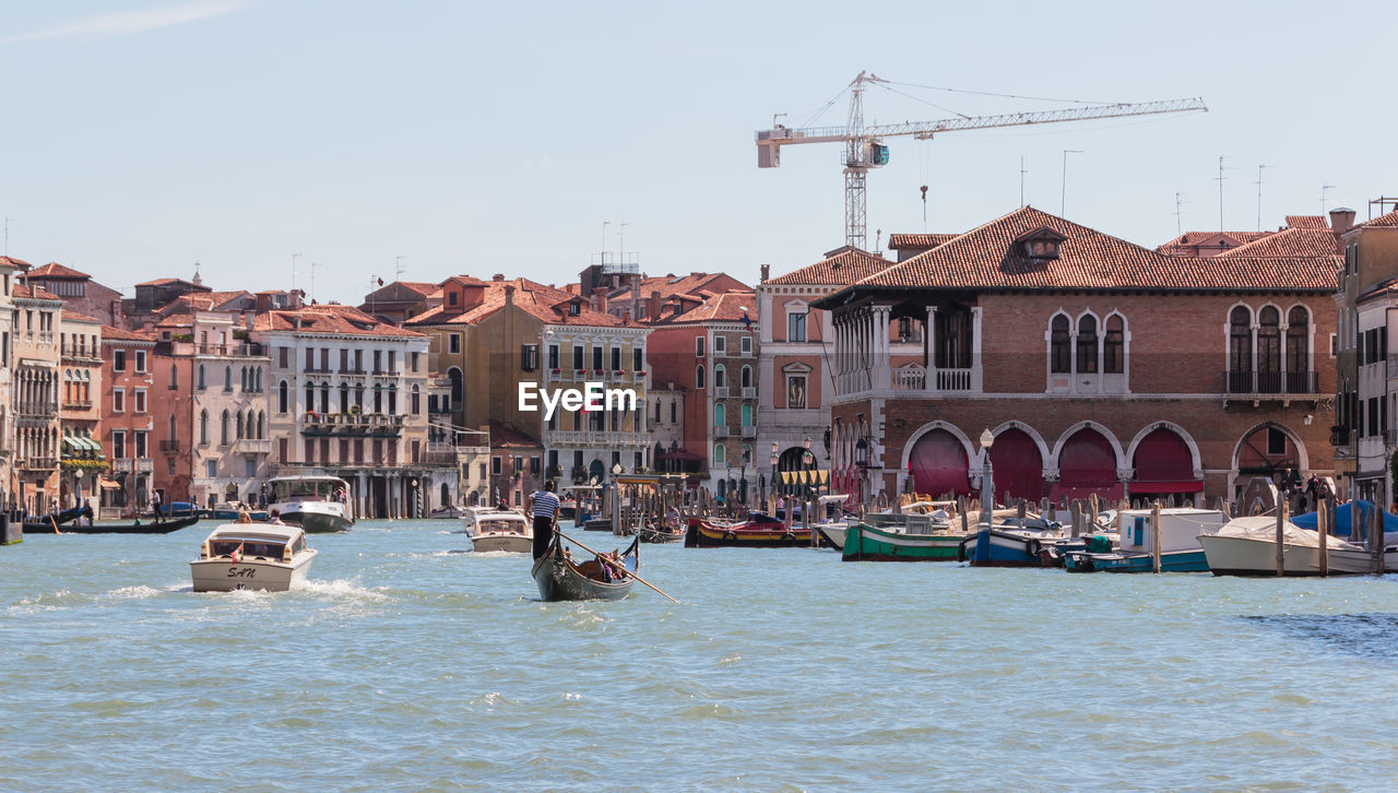 Boats On Canal In Venice