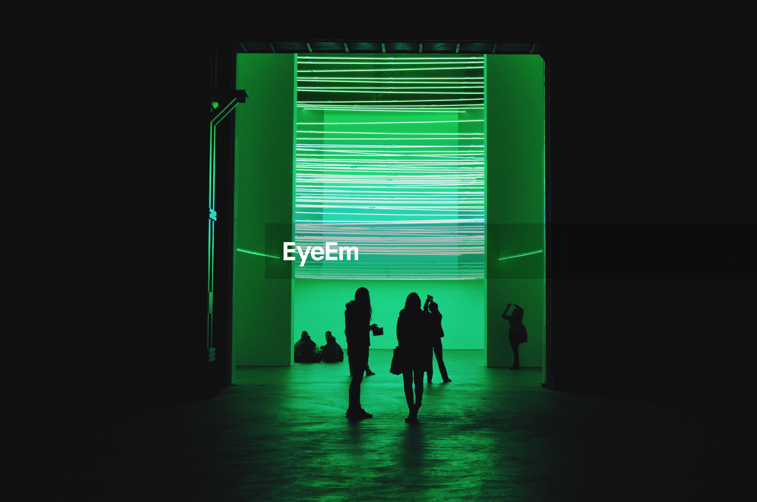 People standing against illuminated green light