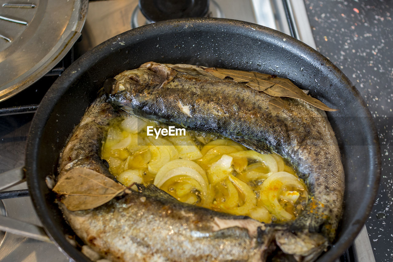 Close-Up Of Fish In Skillet