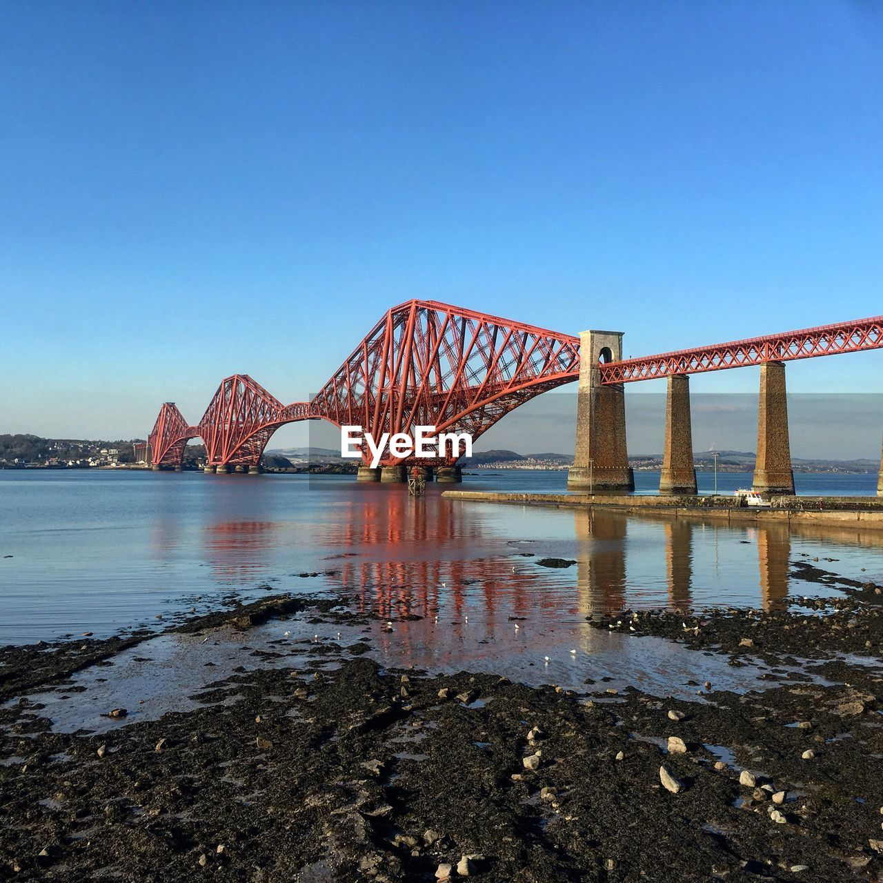 Firth Of Forth Rail Bridge Over River Against Clear Blue Sky