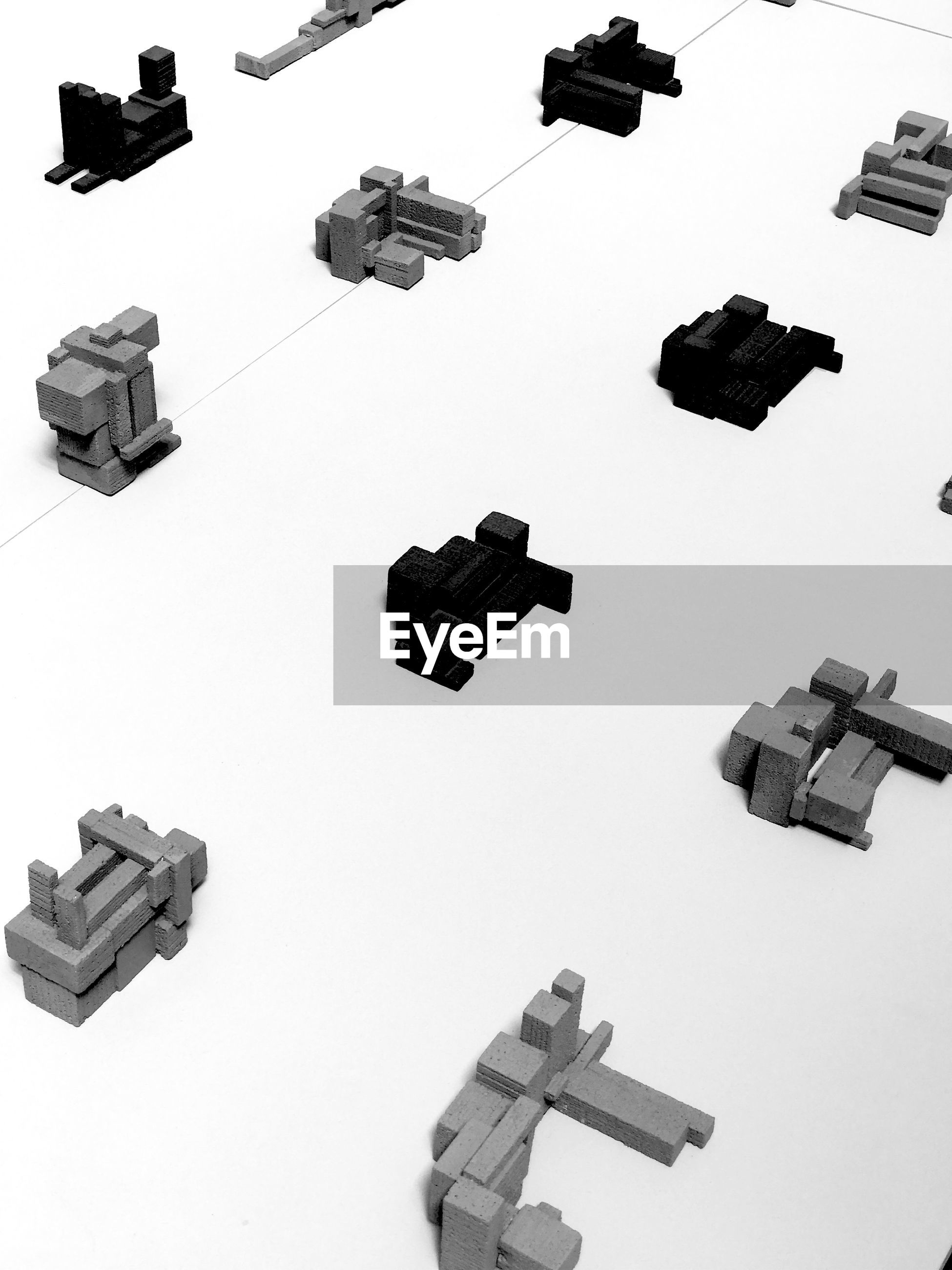 High angle view of toy blocks on white background