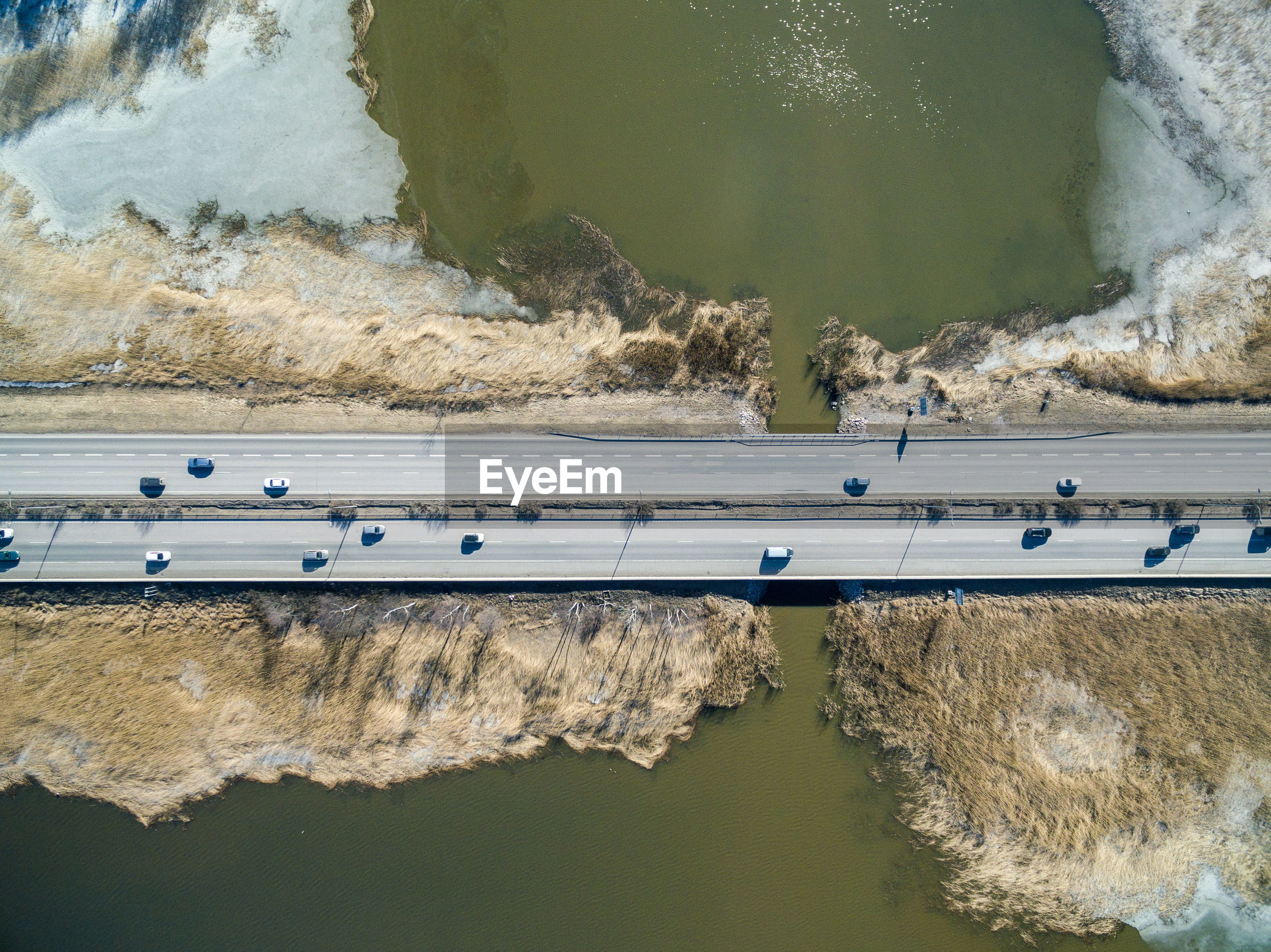 Aerial view of traffic on road