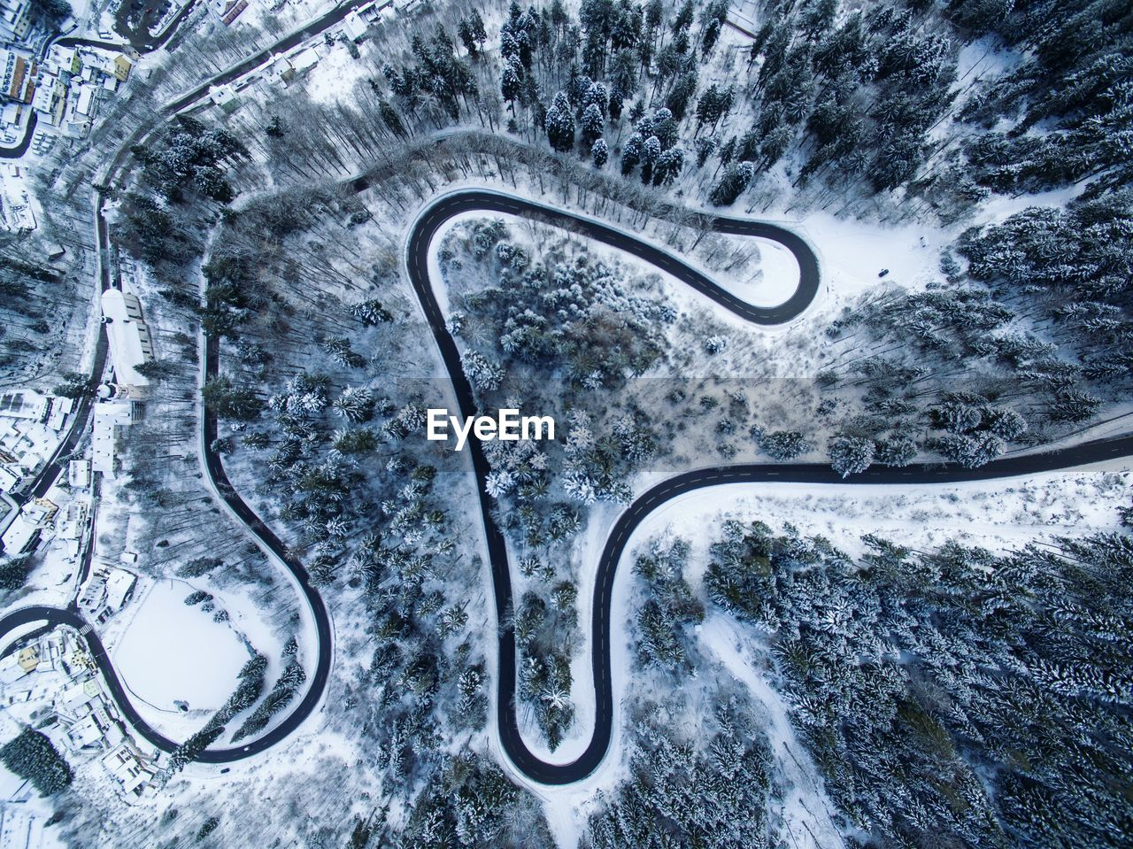 Aerial View Of Road At Forest During Winter