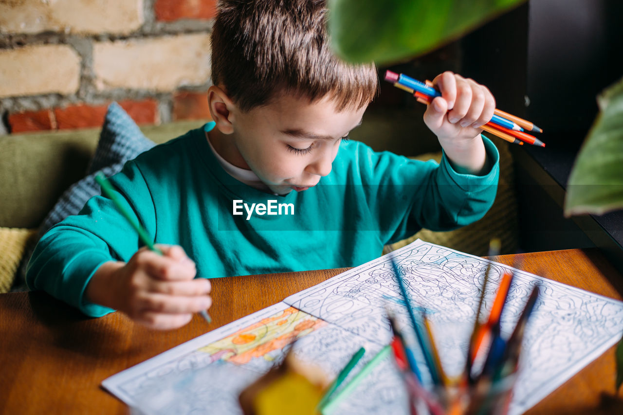 Portrait of a cute happy preschool boy at home or in a cafe draws.