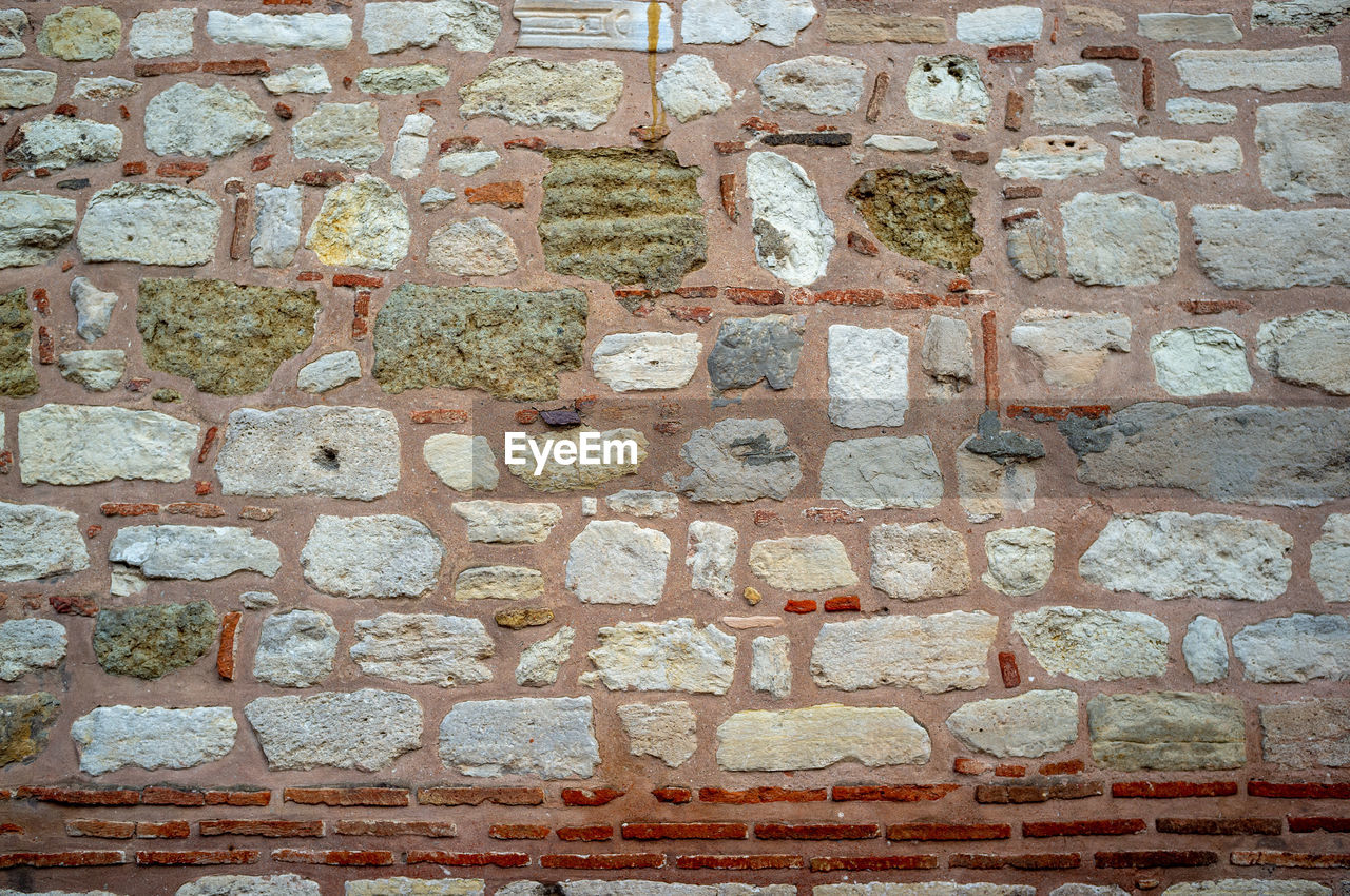 full frame, brick, backgrounds, built structure, architecture, wall - building feature, brick wall, wall, no people, textured, pattern, day, rough, close-up, solid, outdoors, old, stone material, building exterior, in a row, stone wall, concrete