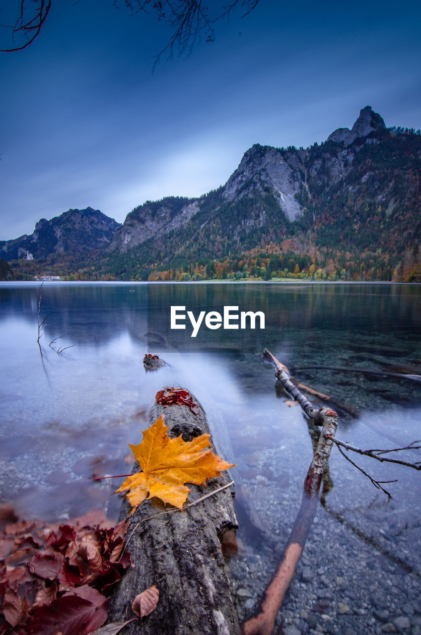 Long exposure on a alp lake in autumn