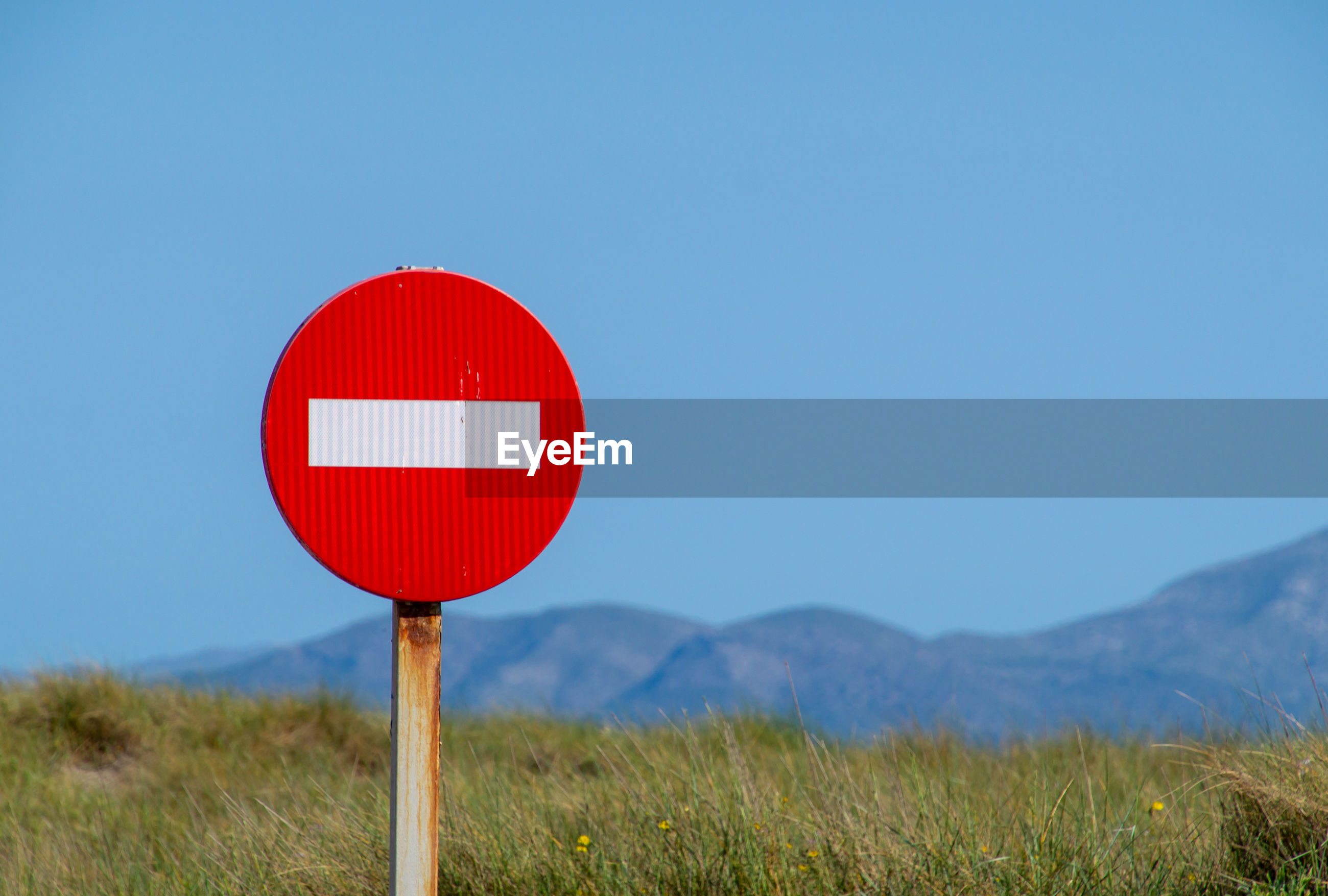 Road sign on field against clear blue sky