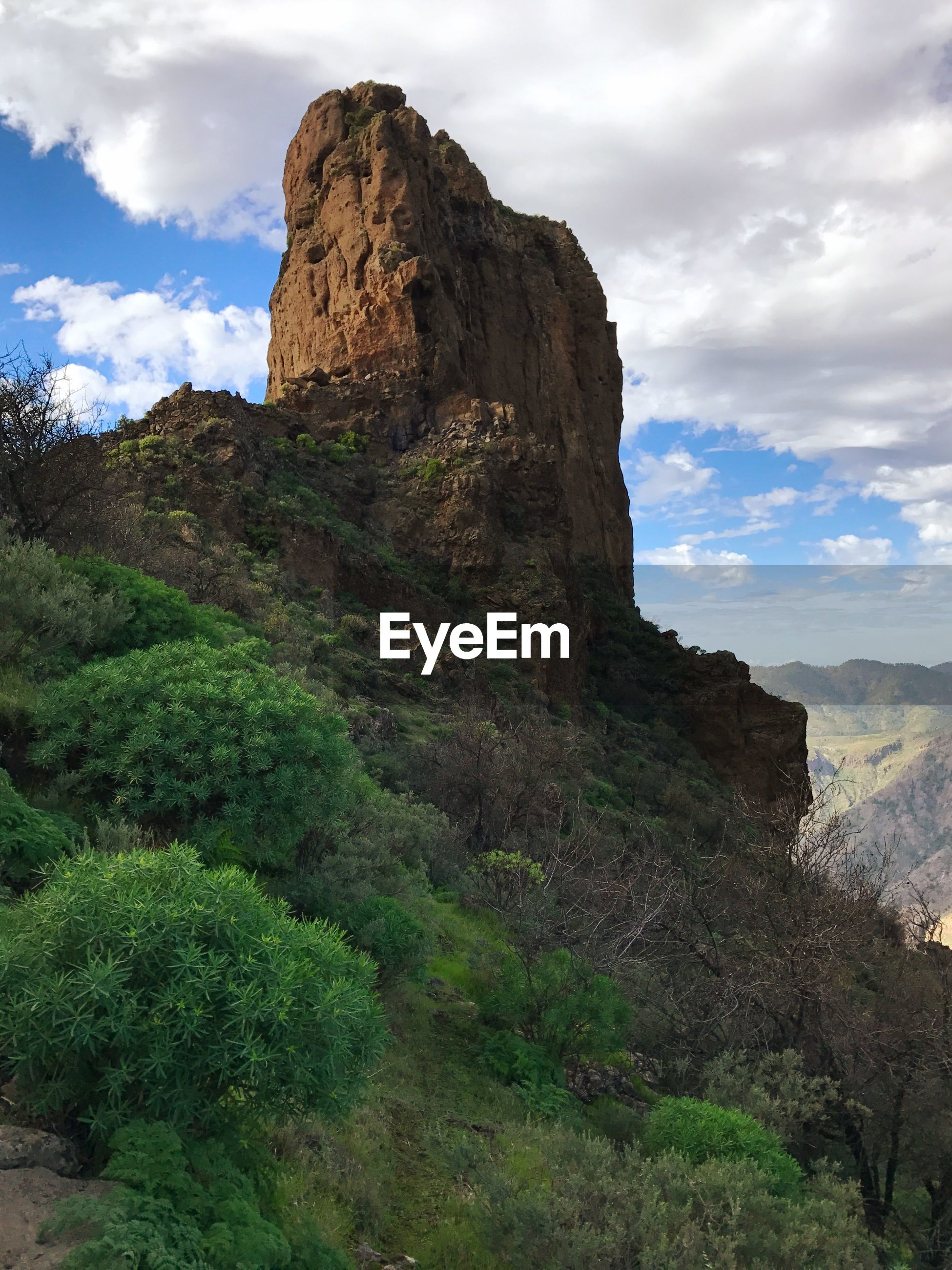 Gran Canary Island Gran Canaria Roque Bentayga Sky Cloud - Sky Rock - Object Landscape Mountain Nature Day Outdoors Beauty In Nature No People Low Angle View Scenics