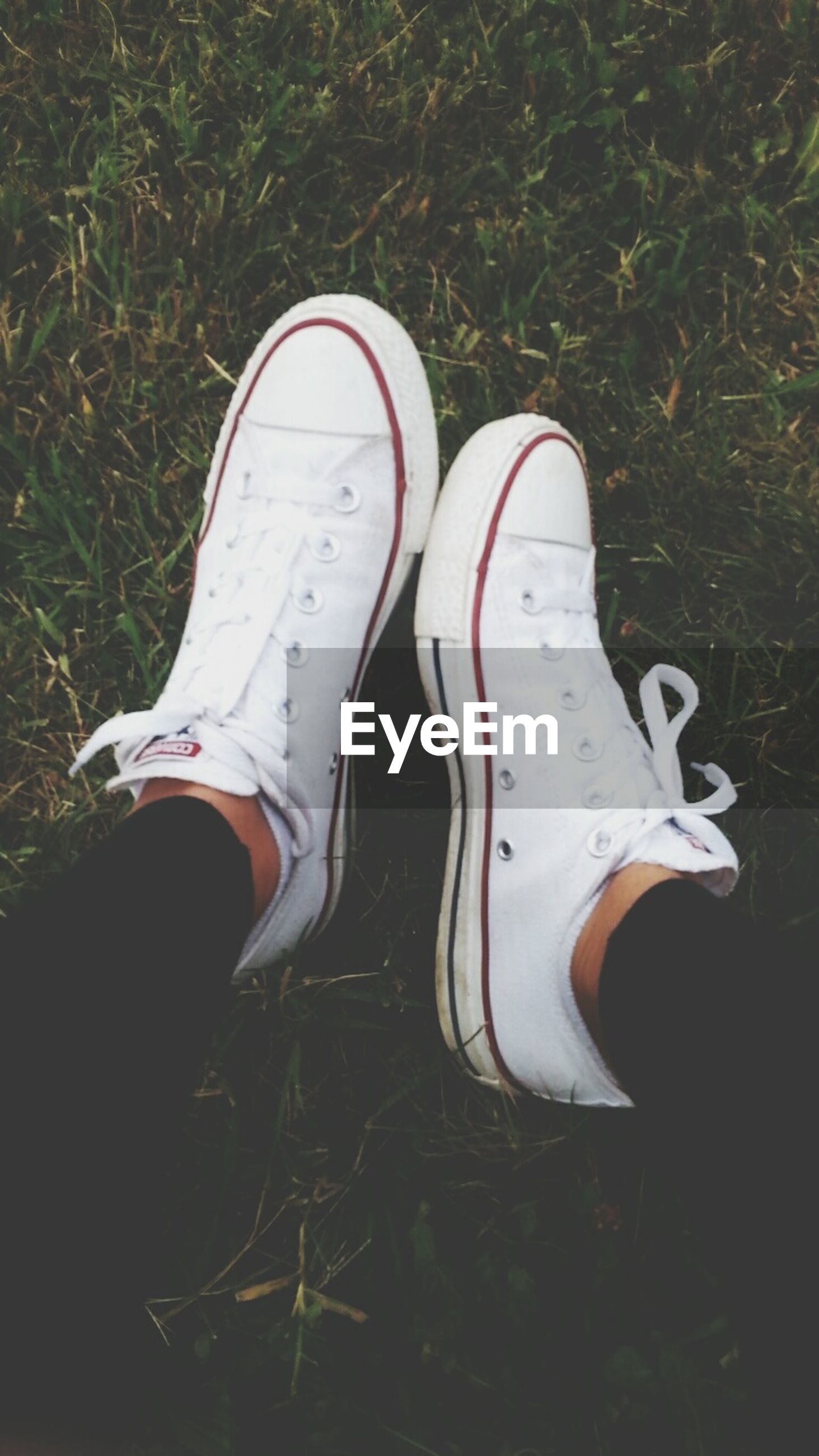 shoe, low section, person, footwear, personal perspective, pair, high angle view, canvas shoe, human foot, jeans, grass, standing, shoelace, field, directly above, close-up, day