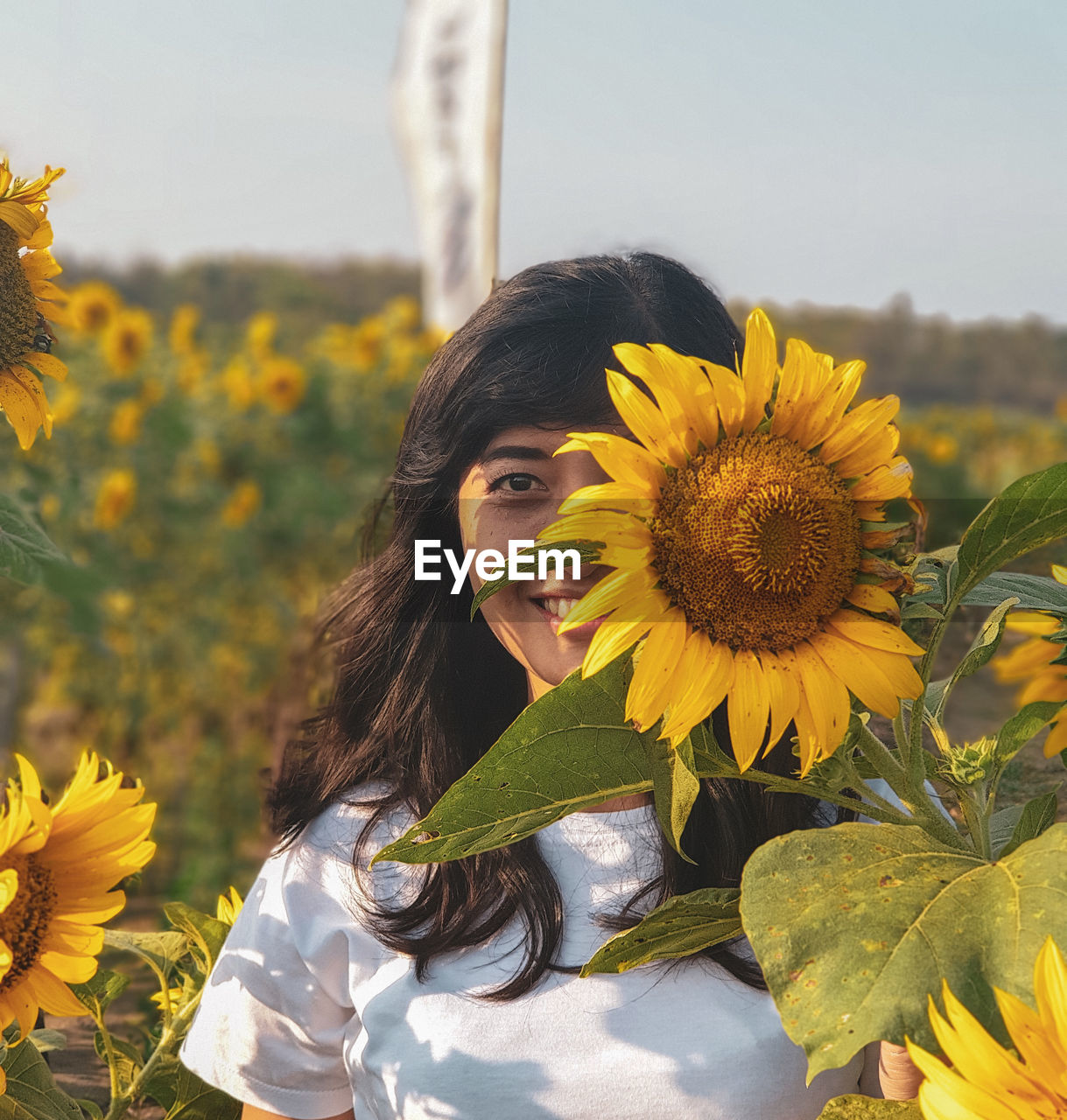 yellow, plant, flower, flowering plant, one person, young women, portrait, young adult, looking at camera, real people, leisure activity, nature, fragility, vulnerability, lifestyles, growth, beauty, freshness, beauty in nature, beautiful woman, hairstyle, hair, flower head, sunflower, outdoors