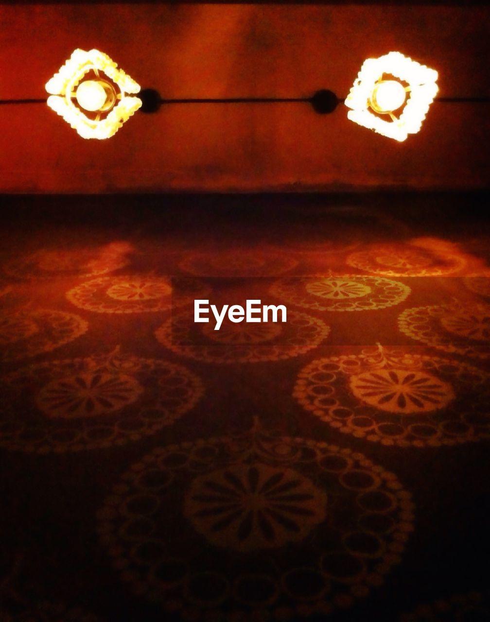 illuminated, no people, close-up, indoors, electricity, night