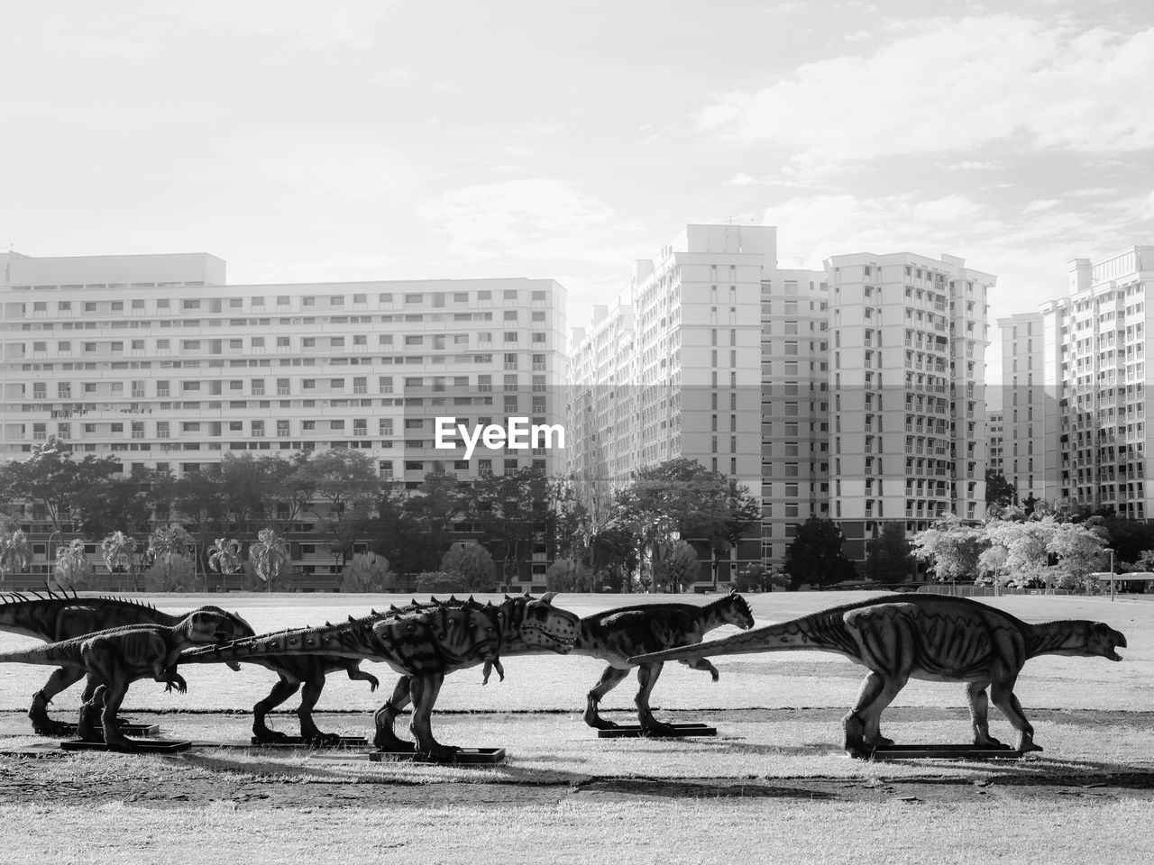 building exterior, city, architecture, built structure, mammal, animal, animal themes, animal wildlife, building, group of animals, sky, day, domestic animals, nature, domestic, vertebrate, group of people, outdoors, pets, livestock, office building exterior, skyscraper