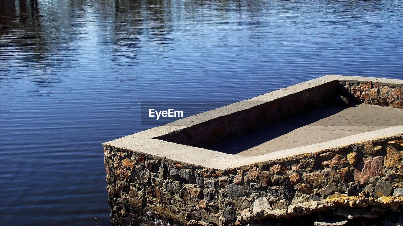 High Angle View Of Built Structure In Lake