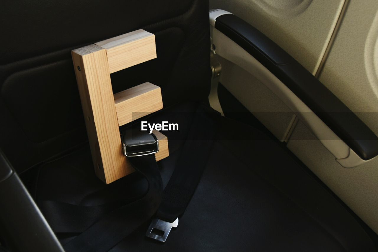 High Angle View Of Letter E On Seat