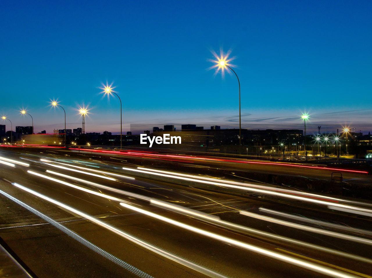 LIGHT TRAILS ON ROAD
