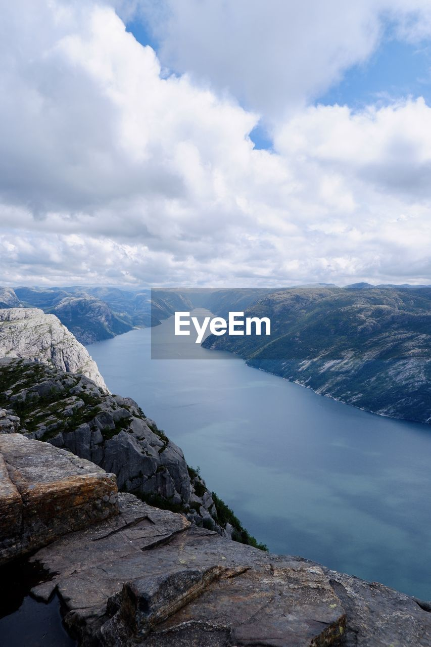 Scenic view of mountains against sky in lysefjorden, norway