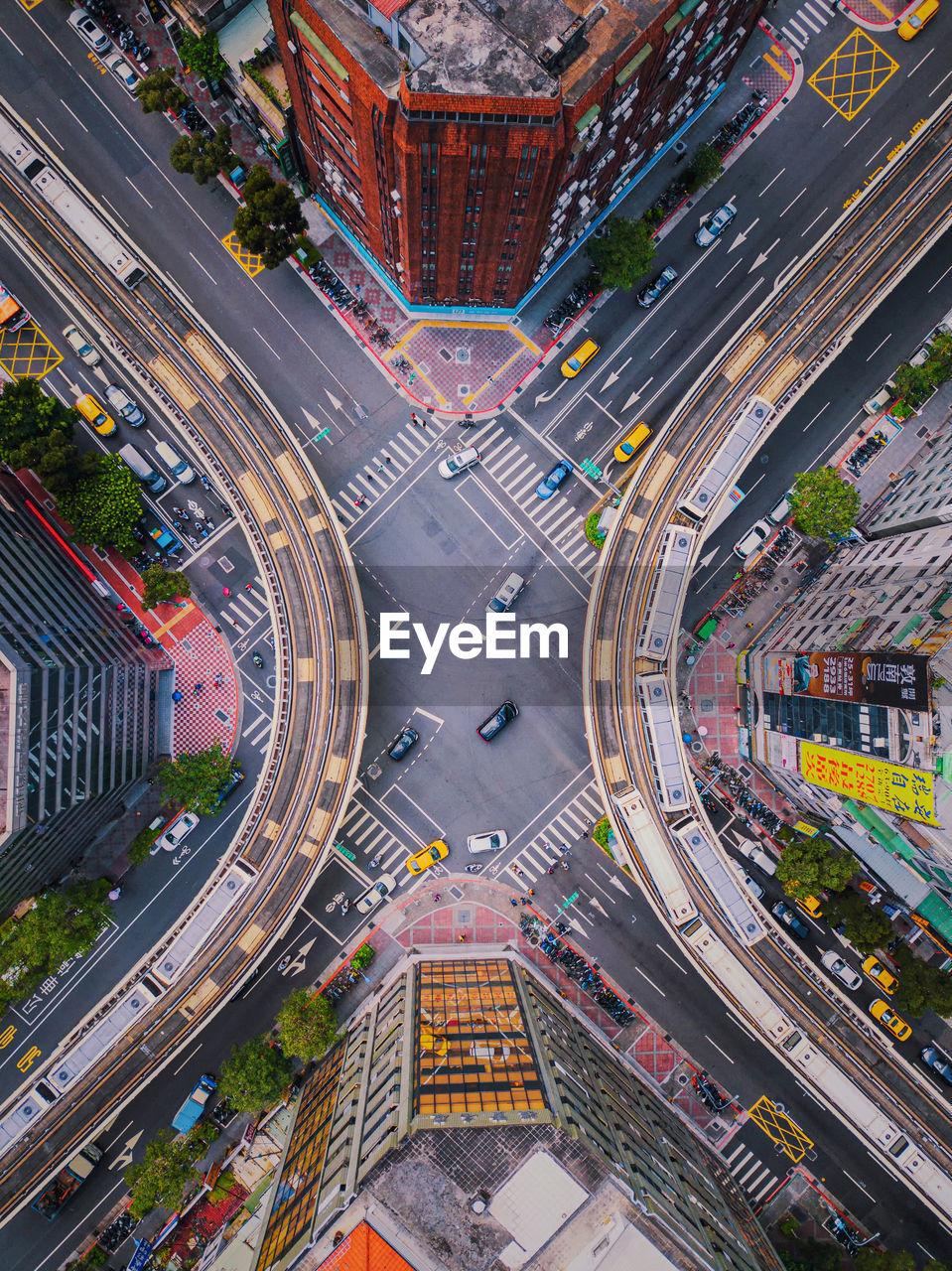Aerial view of highways in city