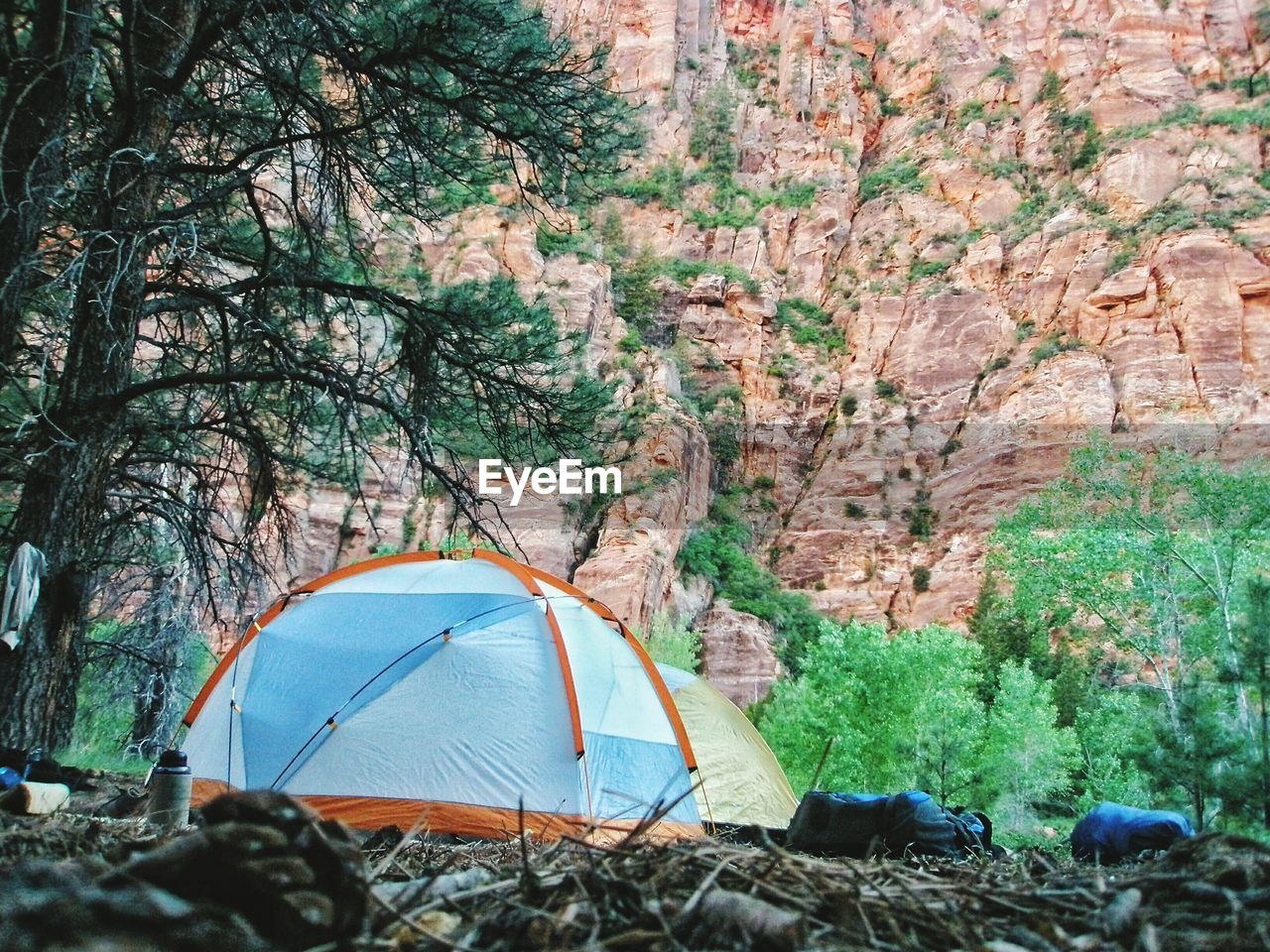 Tents By Rock Formations At Zion National Park