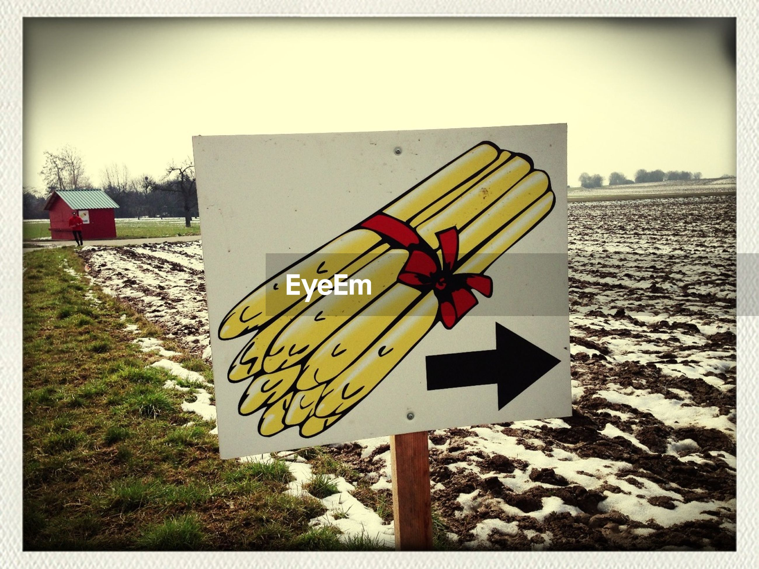 transfer print, auto post production filter, text, road sign, sign, guidance, communication, western script, transportation, yellow, warning sign, arrow symbol, information sign, clear sky, directional sign, outdoors, no people, day, flag, red