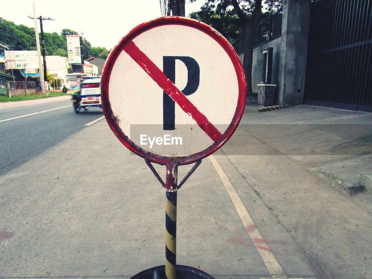 No parking sign on road