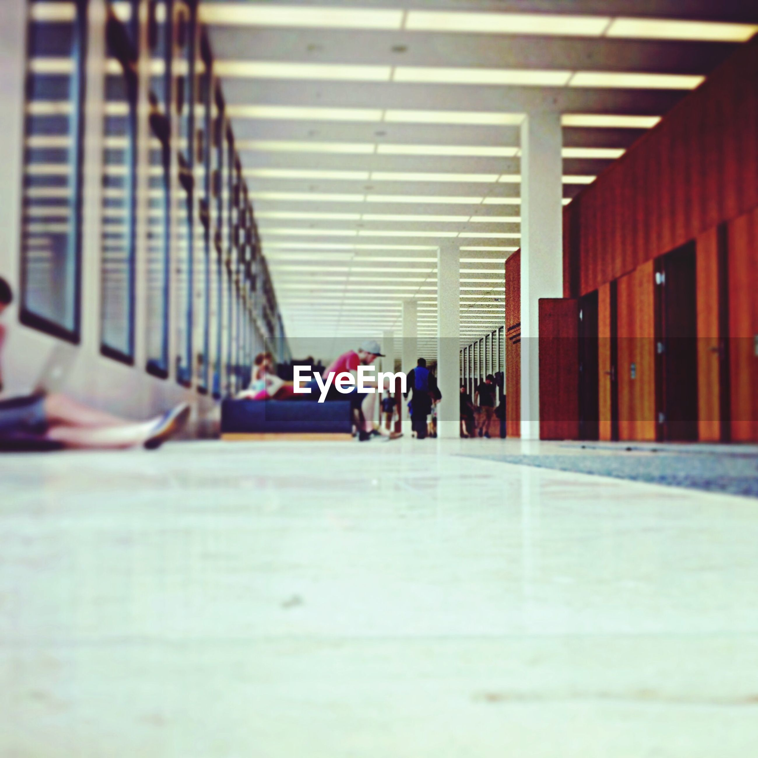 People at college corridor