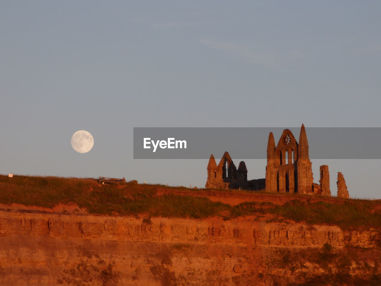 Low Angle View Of Whitby Abbey Against Clear Sky At Dusk