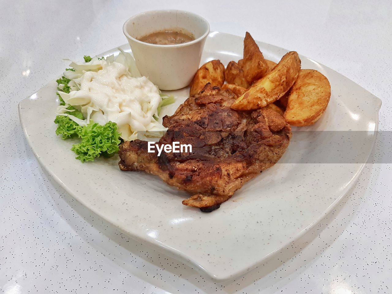 food and drink, food, plate, meat, ready-to-eat, freshness, serving size, still life, table, vegetable, indoors, high angle view, close-up, healthy eating, no people, indulgence, potato, fried, prepared potato, meal, chicken meat, fried chicken, temptation, dip, snack