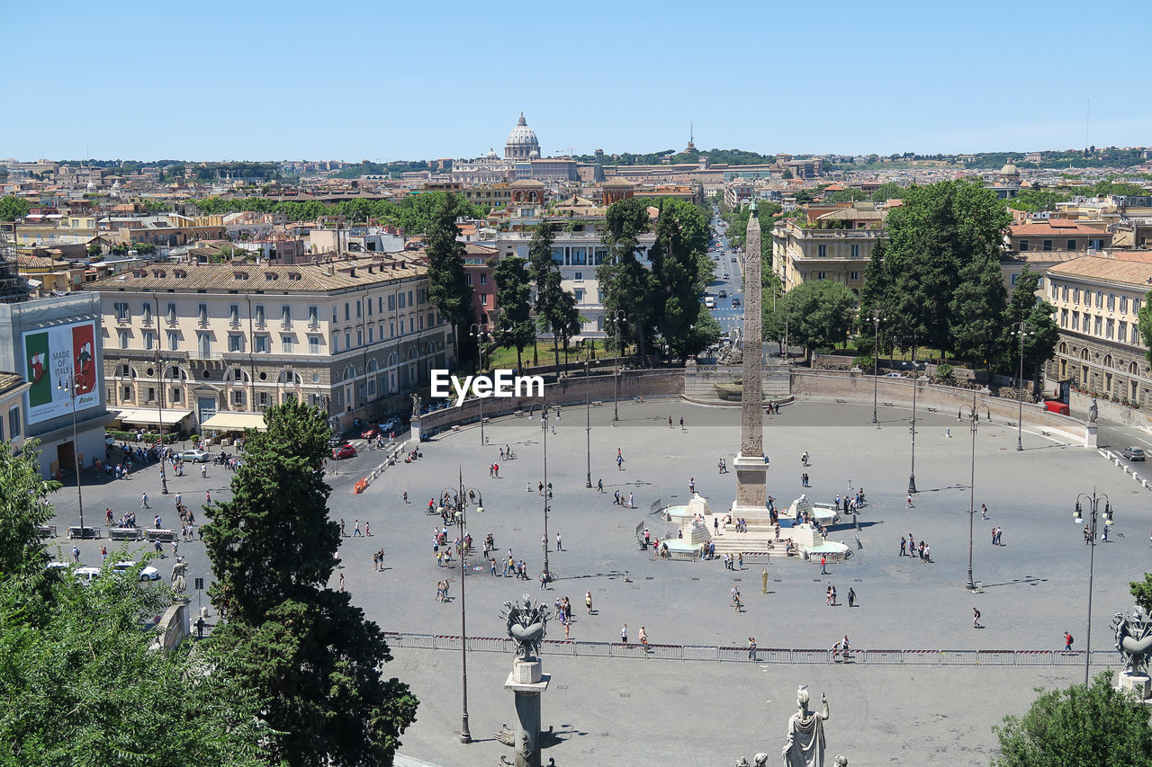High Angle View Of People At Piazza Del Popolo In City