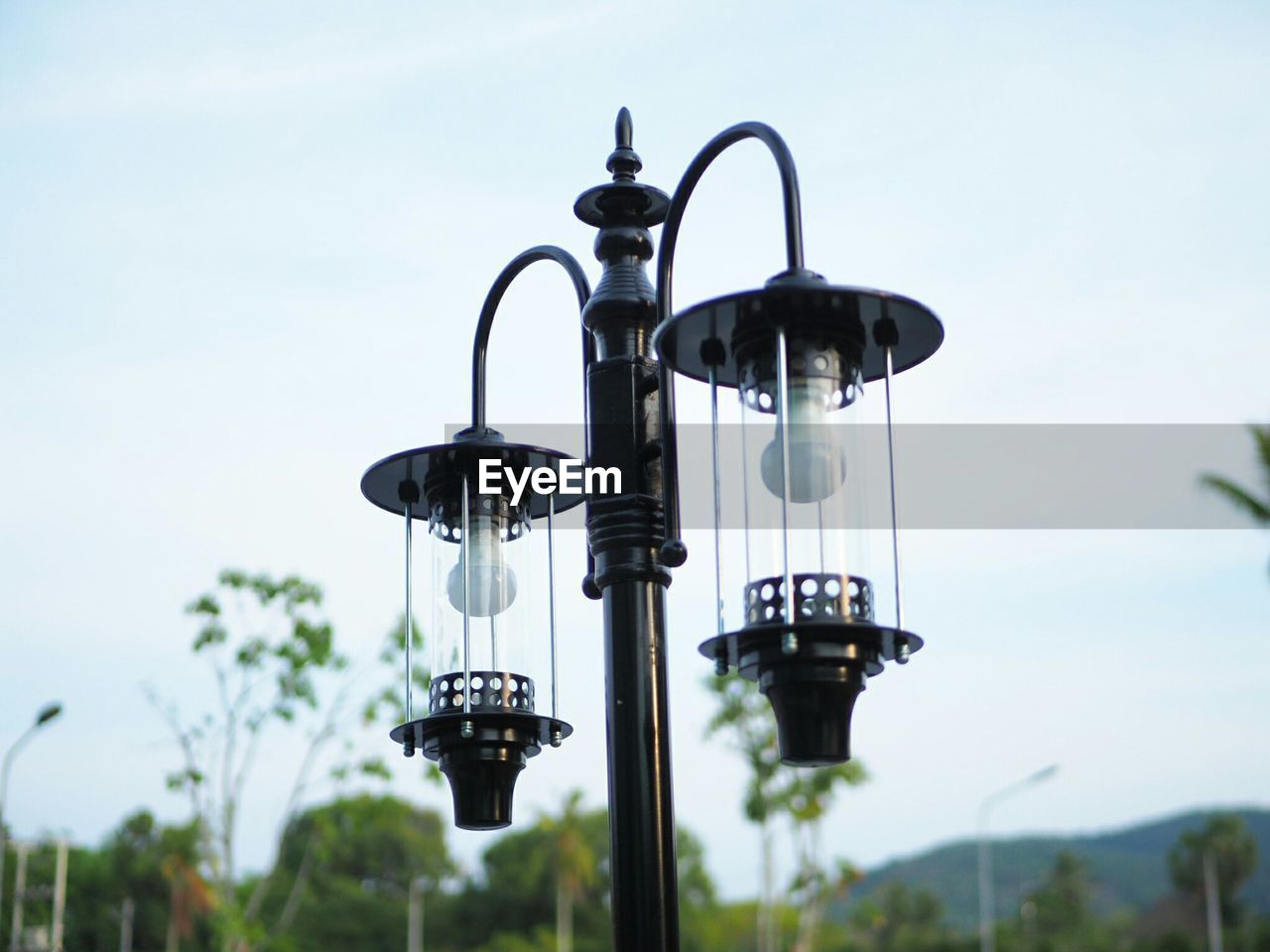 sky, nature, lighting equipment, no people, focus on foreground, low angle view, metal, day, street light, plant, outdoors, street, close-up, clear sky, in a row, hanging, sunlight, technology