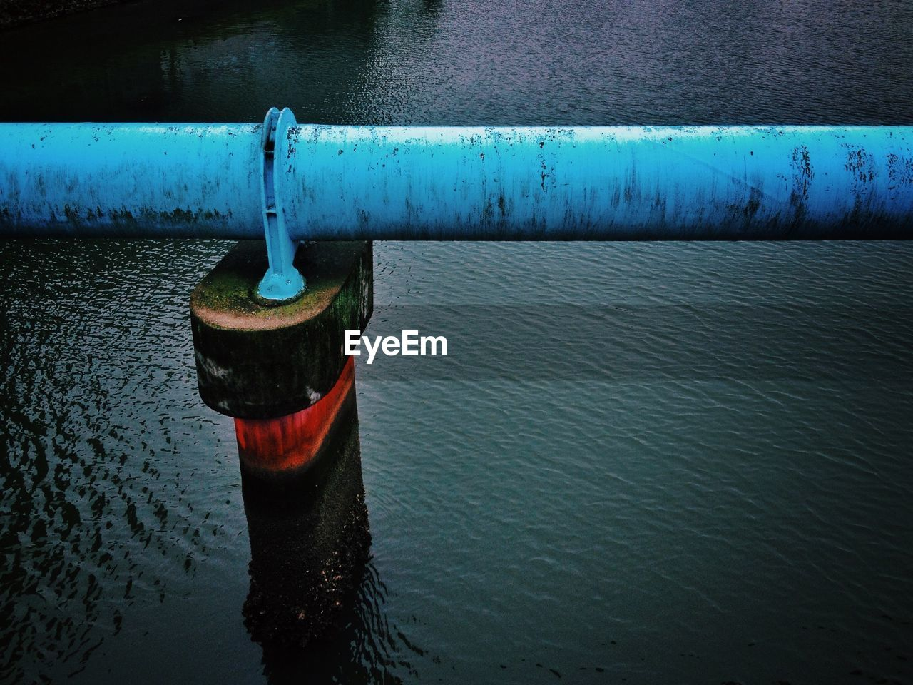 water, river, waterfront, outdoors, no people, day, pipe - tube, hanging, cleat, nature, close-up