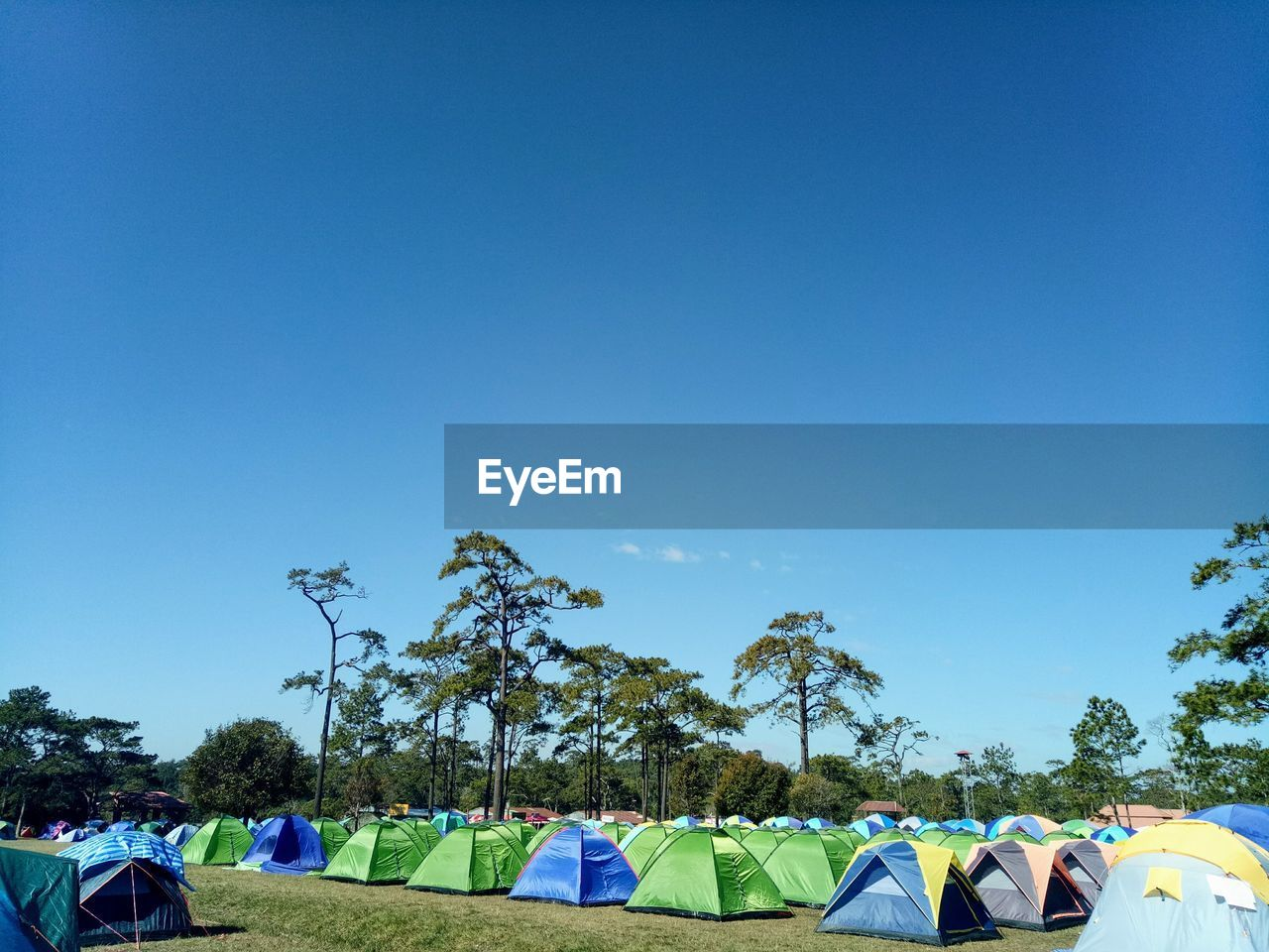 sky, blue, tree, copy space, plant, nature, group of people, day, clear sky, tent, real people, men, leisure activity, camping, umbrella, sunlight, people, group, multi colored, adult, outdoors