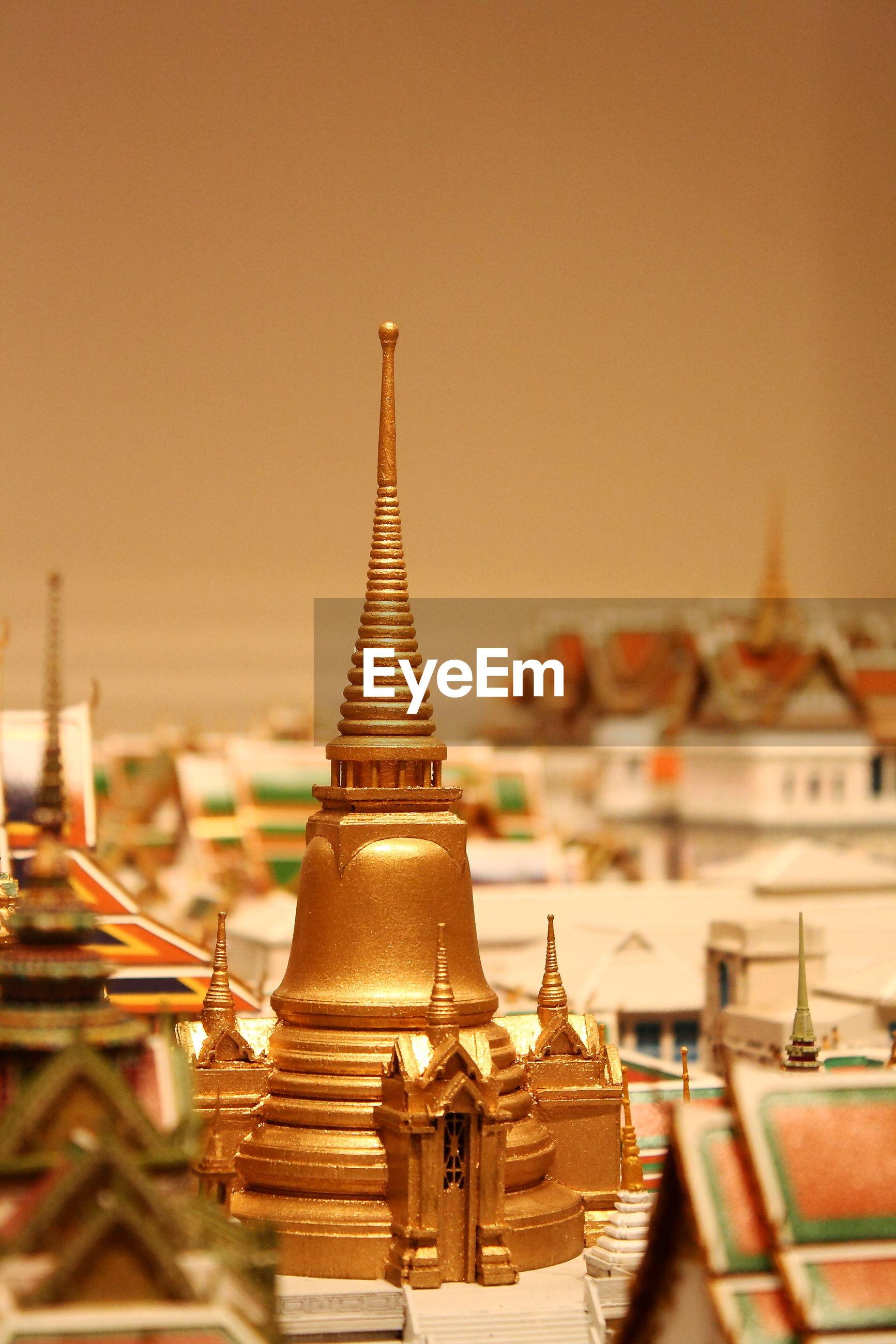 Close-up of wat phra kaew model at museum