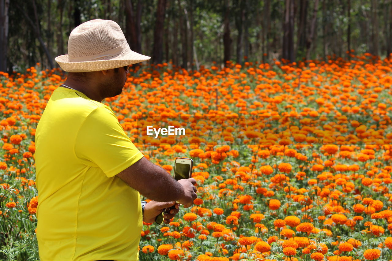 Man Photographing Flowers Through Mobile Phone