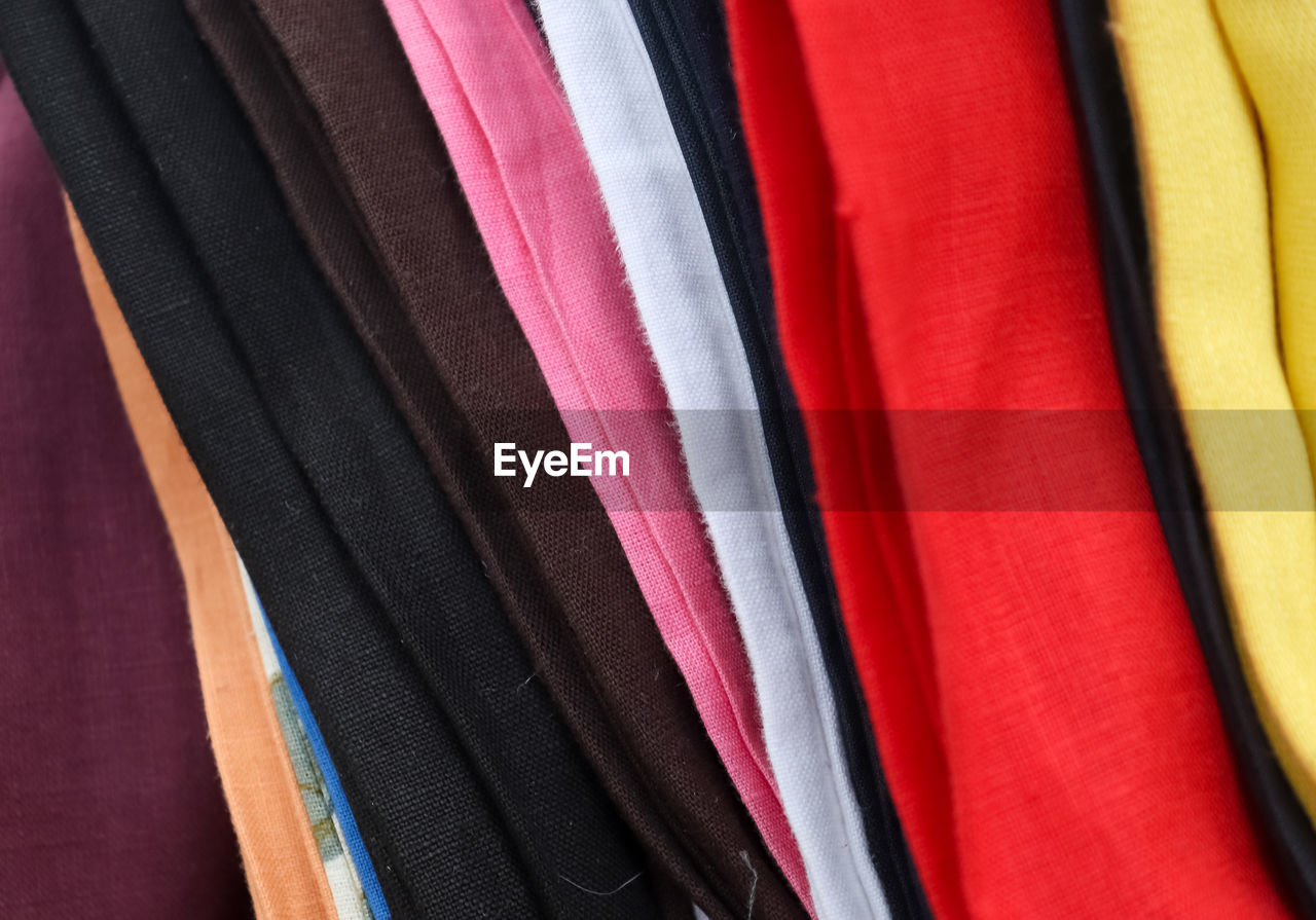 Full frame shot of multi colored textile for sale in store