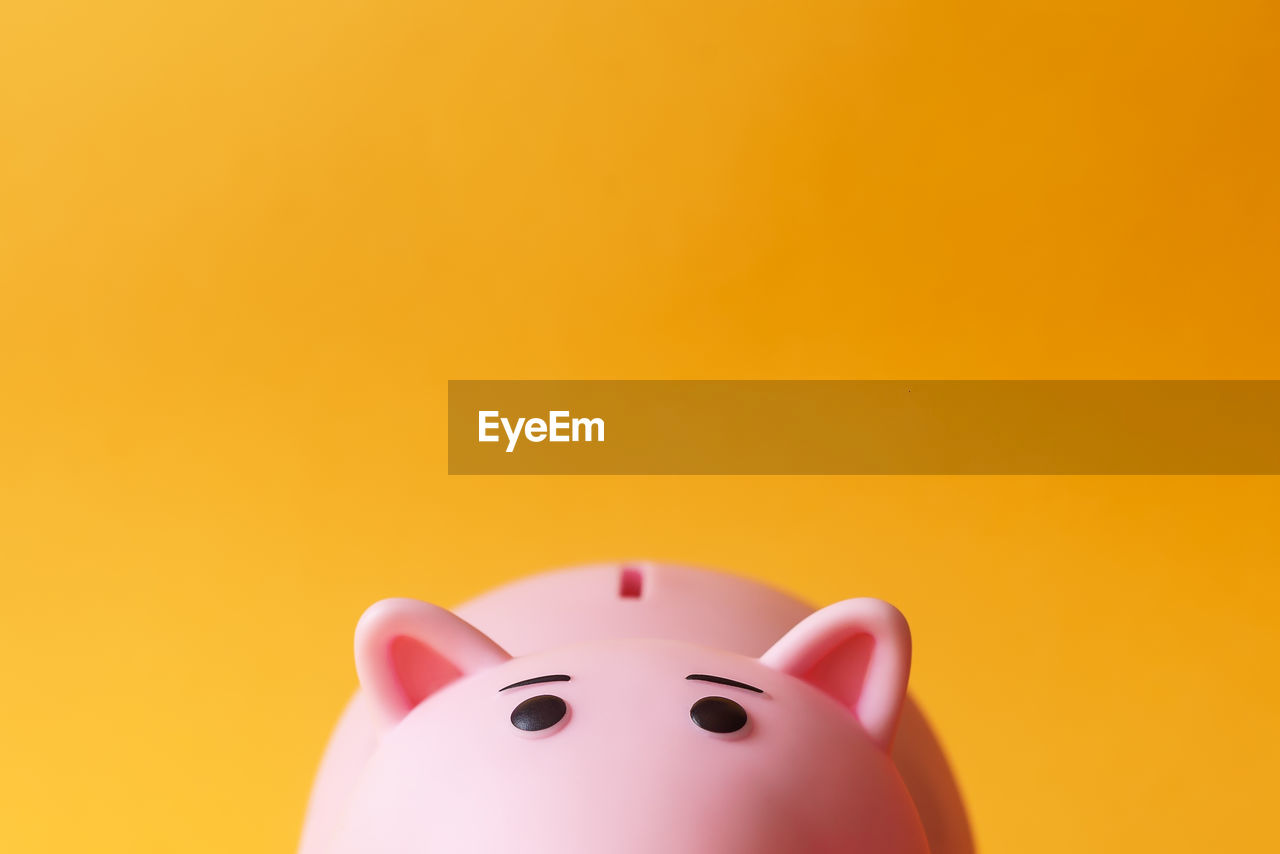 piggy bank, savings, copy space, investment, finance, studio shot, indoors, currency, close-up, business, no people, representation, coin bank, colored background, pink color, still life, animal representation, cut out, orange color, yellow