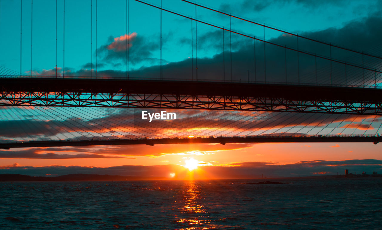 sunset, sky, cloud - sky, sun, orange color, nature, bridge - man made structure, connection, beauty in nature, silhouette, outdoors, water, sunlight, scenics, no people, built structure, sea, architecture, day