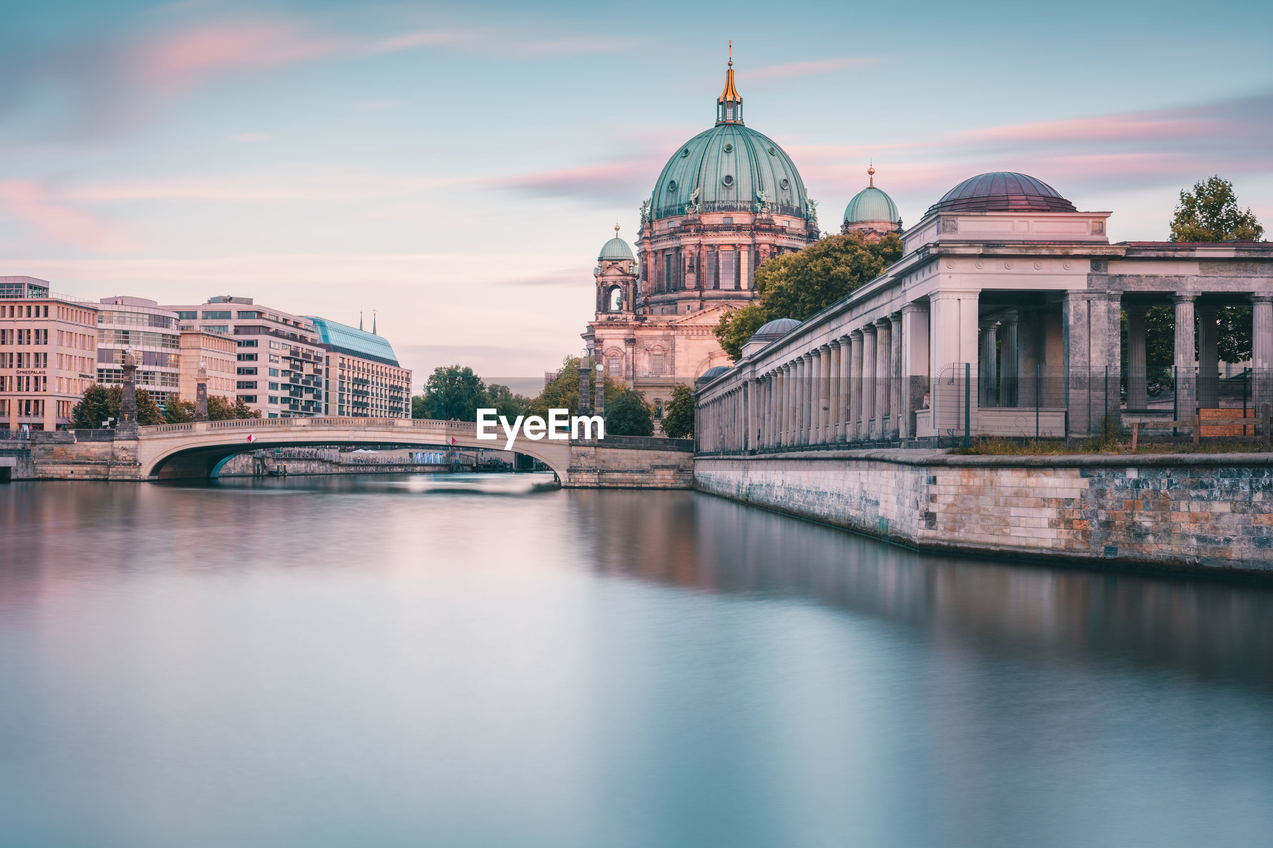 River by berlin cathedral against sky