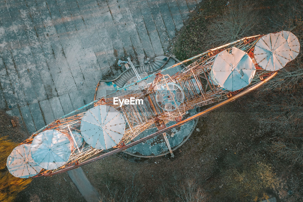 High angle view of abandoned ferris wheel