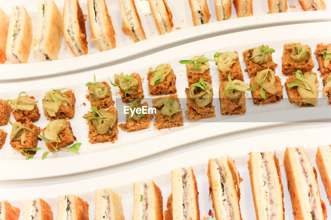 High Angle View Of Food Arranged In Plate