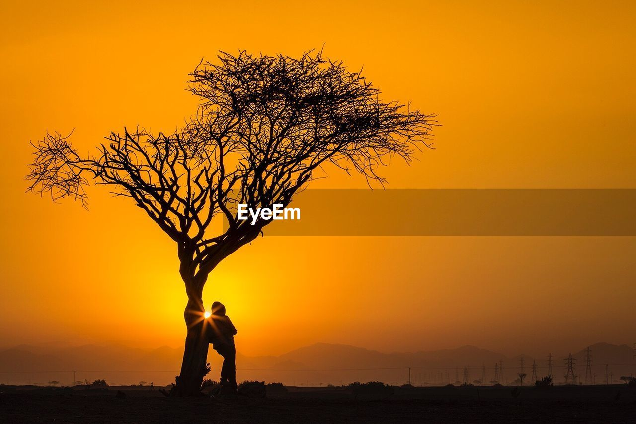 sunset, orange color, sky, silhouette, standing, tree, beauty in nature, real people, scenics - nature, nature, two people, men, people, lifestyles, leisure activity, togetherness, plant, tranquil scene, non-urban scene, outdoors, sun, couple - relationship