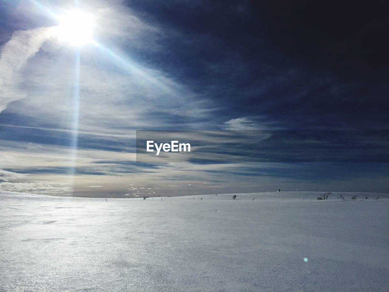 FROZEN LANDSCAPE AGAINST SKY DURING WINTER