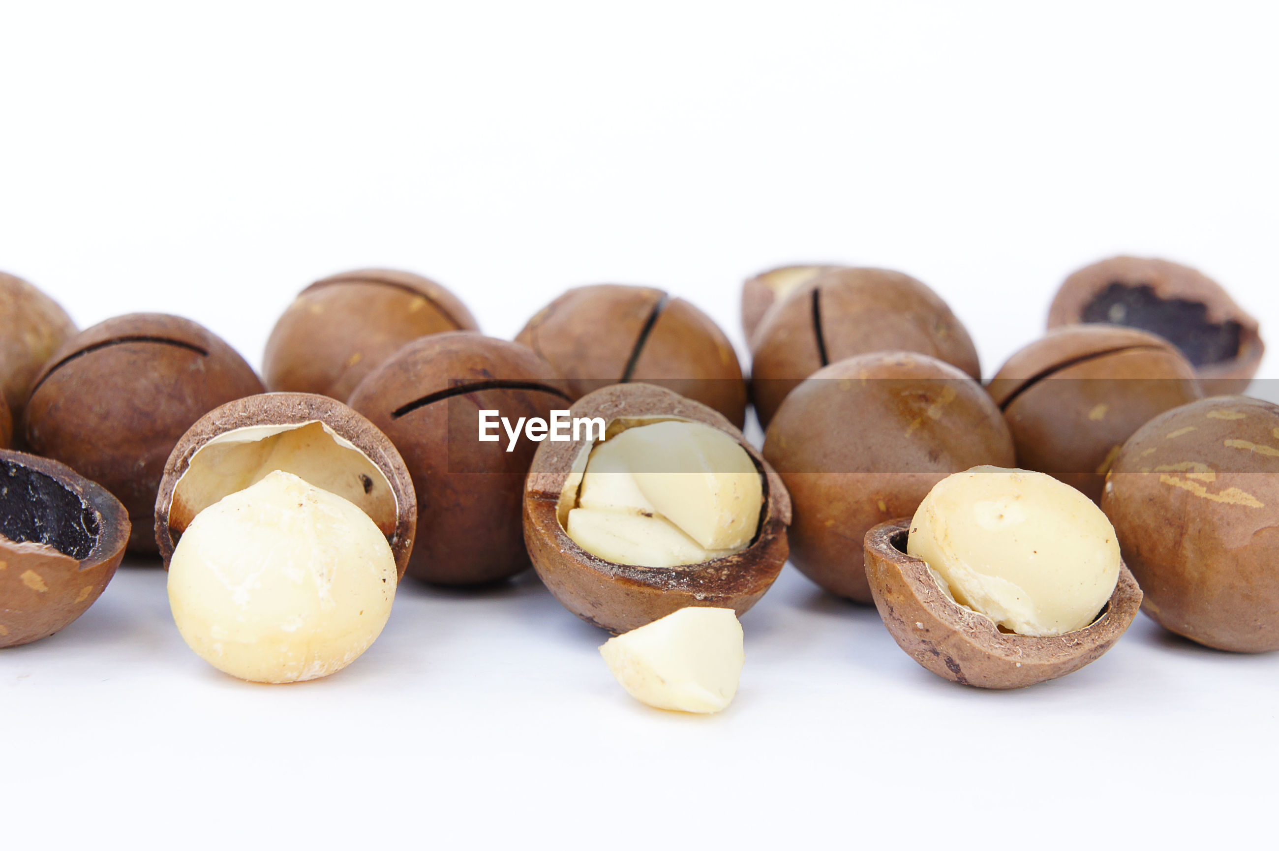 Close-up of nut - food against white background