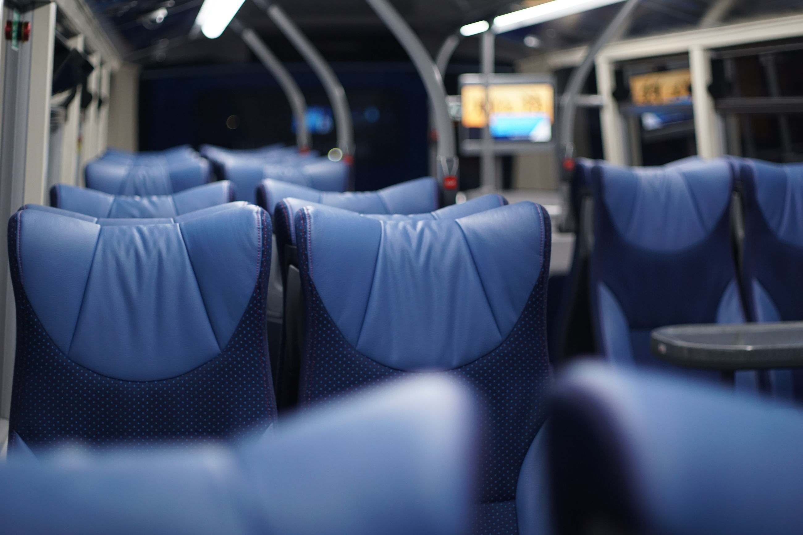 EMPTY SEATS IN TRAIN AT STATION